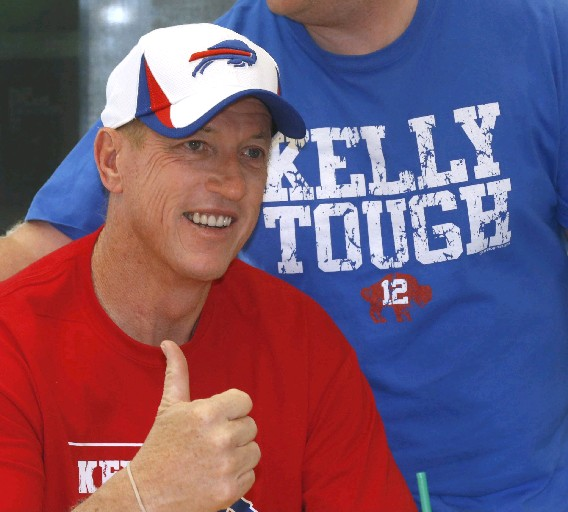 Hall of Fame quarterback Jim Kelly and other members of his family will participate this weekend in the second annual Kelly Tough 12K. This year, the event is in Orchard Park.  (Robert Kirkham/Buffalo News file photo)