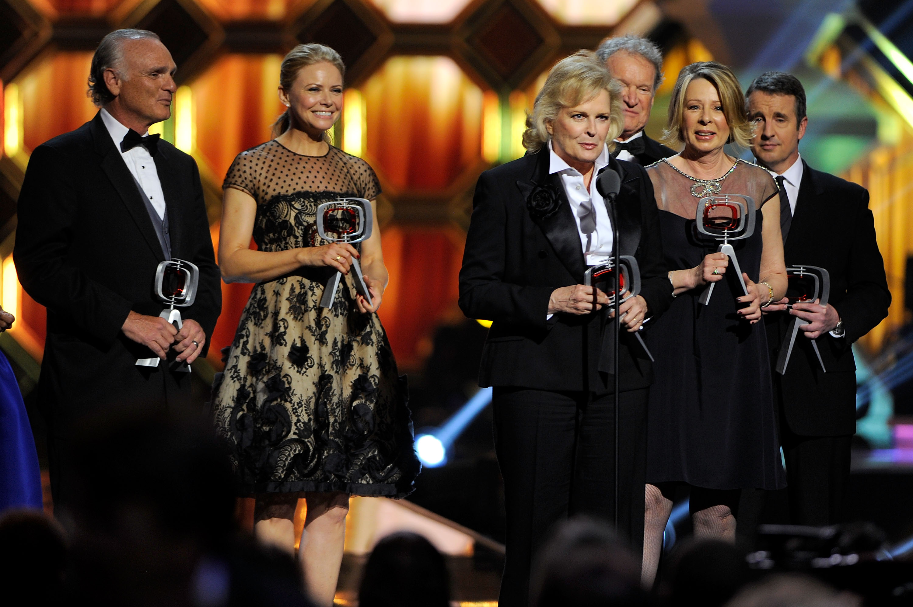 NEW YORK, NY - APRIL 14: (L-R) Actors Joe Regalbuto, Faith Ford, Candice Bergen, Charles Kimbrough, 'Murphy Brown' creator/executive producer Diane English and Grant Shaud speak onstage at the 10th Annual TV Land Awards at the Lexington Avenue Armory on April 14, 2012 in New York City. (Photo by Andrew H. Walker/Getty Images)