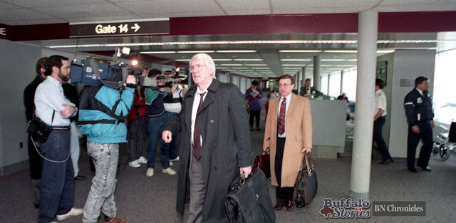 After his team lost Game 7 of the opening round of the Adams Division playoffs, Sabres Head Coach John Muckler leaves the United Terminal of the Buffalo International Airport. (Buffalo News archives)