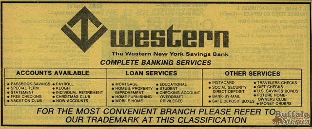 Western Savings Bank ad, 1979. (Buffalo Stories archives)