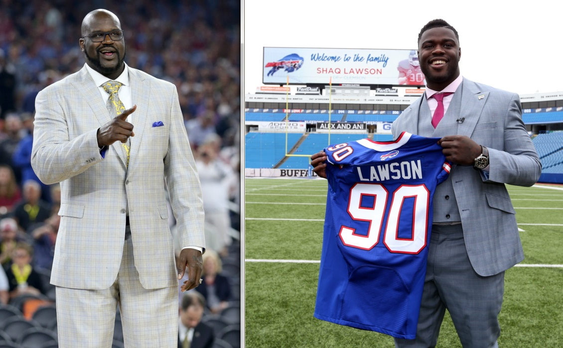 Shaquille O'Neal says he's been a fan of Shaq Lawson, who the Bills drafted in the first round last week. (Left: Getty Images; Right: James P. McCoy/Buffalo News)