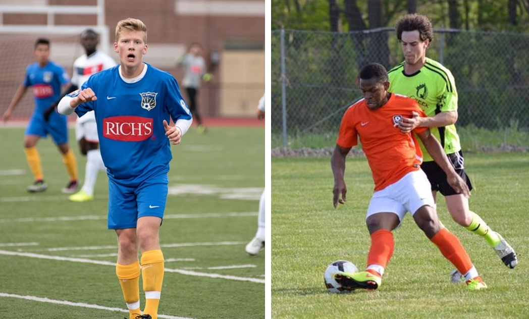 "FC Buffalo and the BDSL are two major subjects of the newest edition of ""The Football Club of Buffalo Show."" Left is FC Buffalo midfielder Bayley Winkel, and right, in orange, is BUSS midfielder Polo Suazo. (Matt Weinberg/Special to The News; via Queenston FC)"