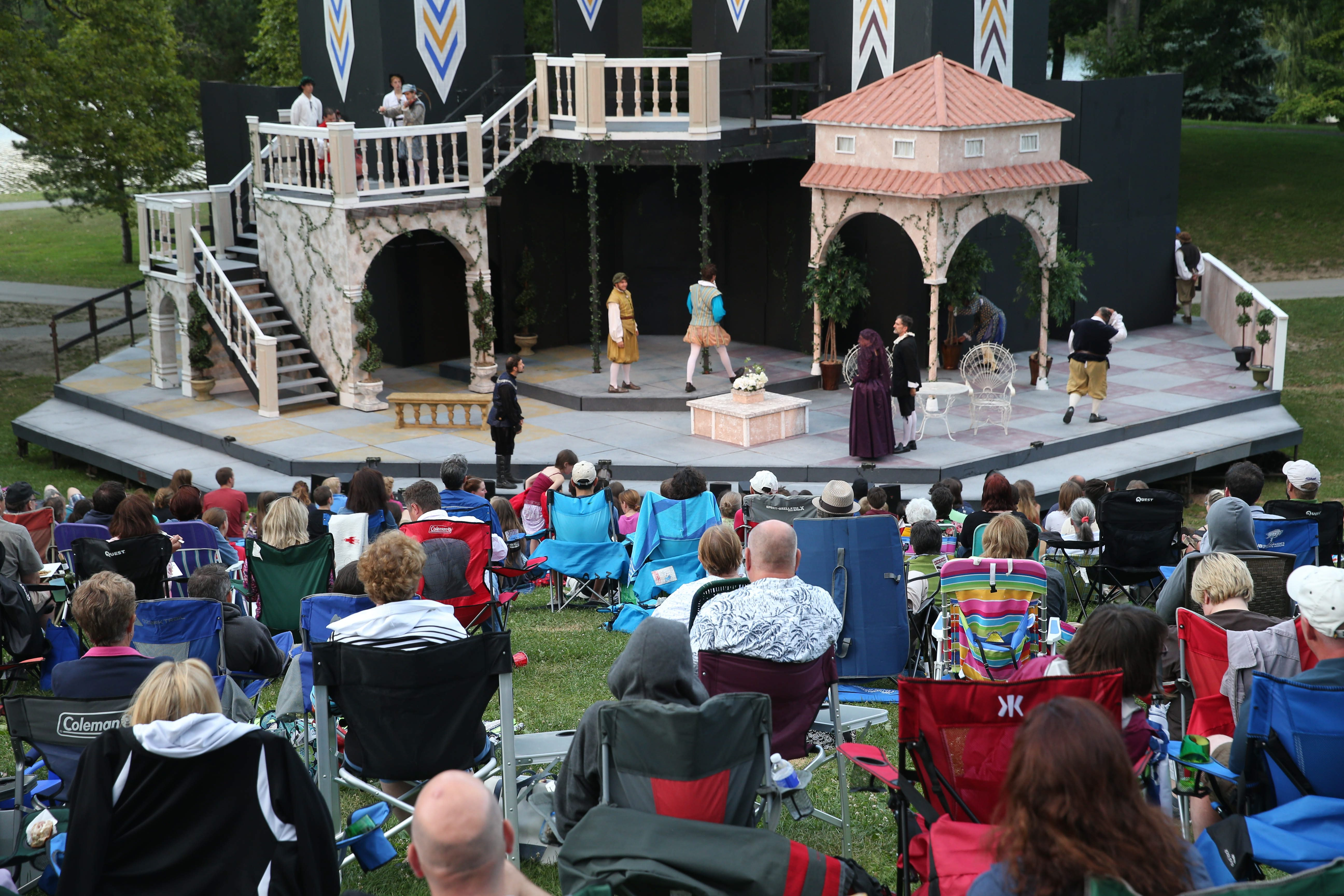 The old steel stage, seen here at a 2015 performance of Shakespeare in Delaware Park, has been replaced by a lightweight aluminum and wood contraption that can be set up more quickly and in different ways. (Sharon Cantillon/News file photo)
