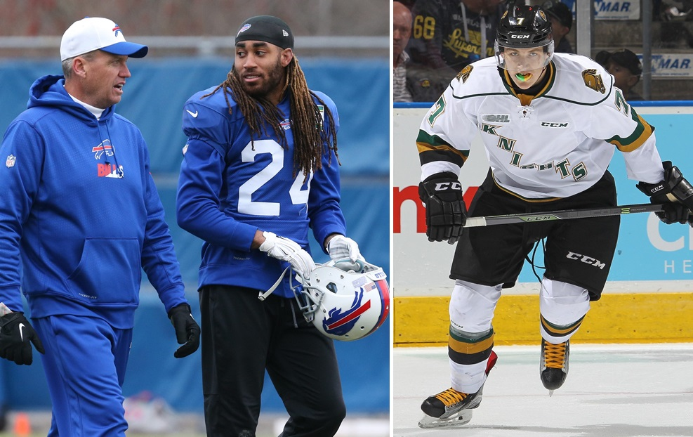 """Stephon Gilmore, center, is a major talking point of """"Sports Talk Sunday,"""" as well as NHL Draft prospect Matthew Tkachuk, right. (James P. McCoy/Buffalo News file photo; Getty Images)"""