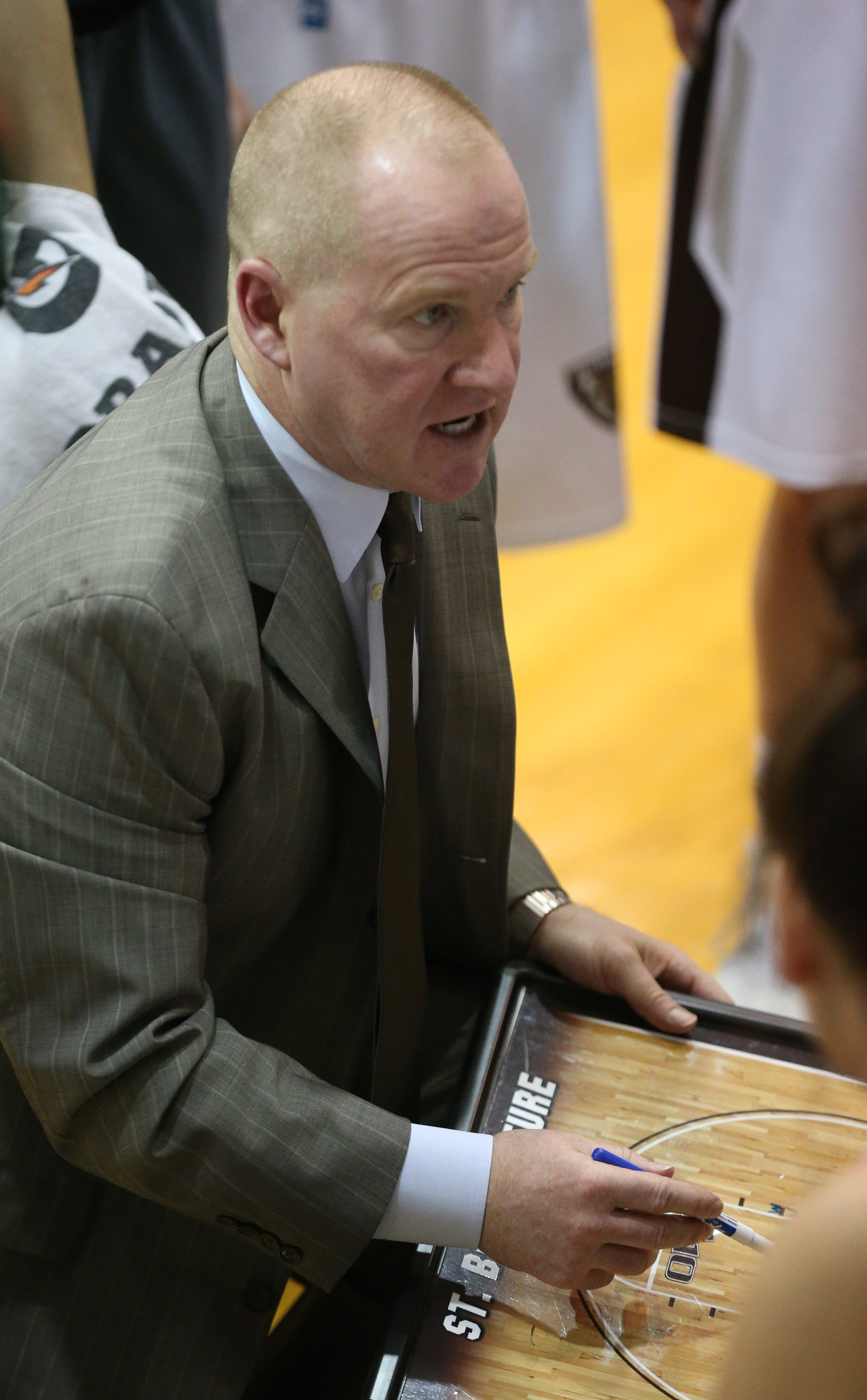 St. Bonaventure Bonnies head coach Jim Crowley calls a play during a time out in the fourth quarter at St Bonaventure University's Bob Lanier Court Reilly Center in Olean,NY on Sunday, Jan. 31, 2016. (James P. McCoy/ Buffalo News)