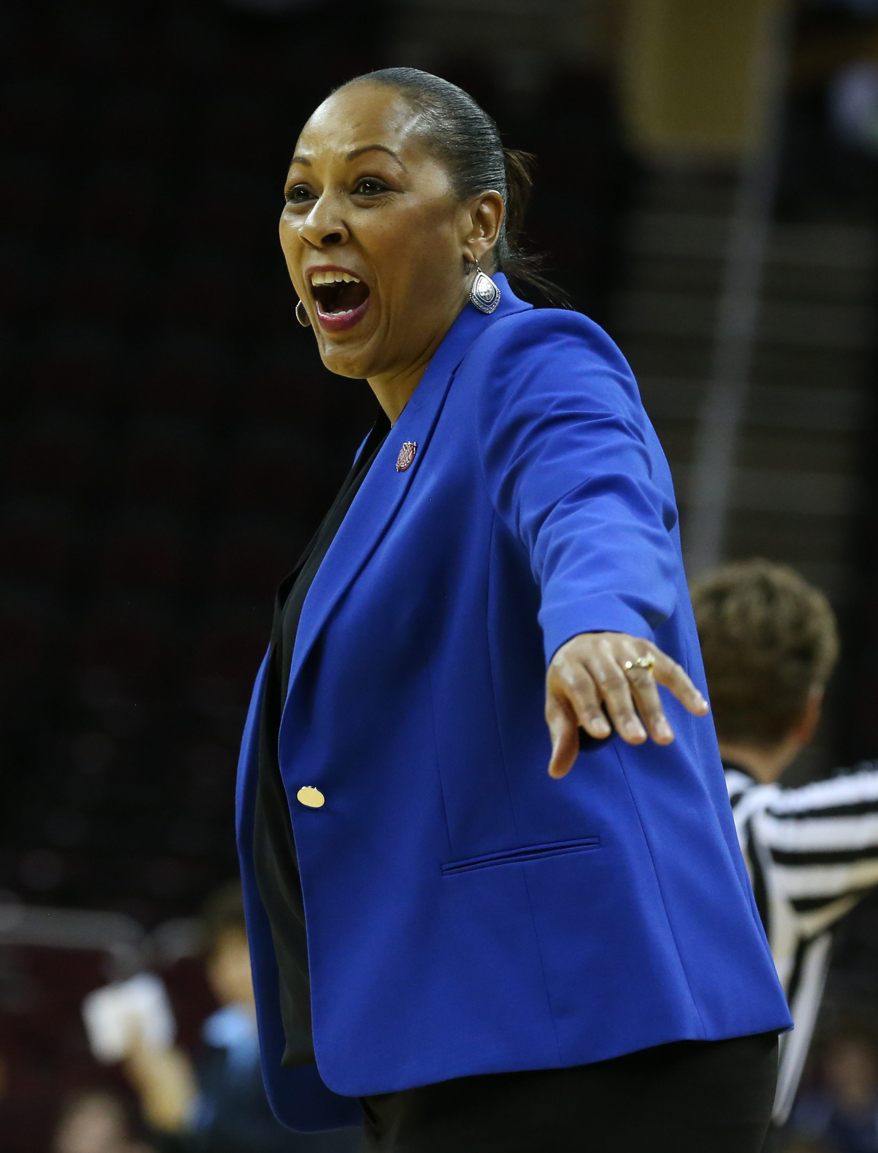 Buffalo Bulls head coach Felisha Legette-Jack celebrates after a basket in the fourth quarter of the semi final. UB won 88-87 to advance to the MAC Championship on Saturday at Quicken Loans Arena in Cleveland,NY on Friday, March 11, 2016. (James P. McCoy/ Buffalo News)