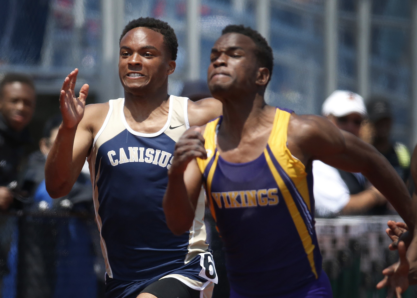 Desmond Nicholas from Canisius competes in the 100 final during the NYSPHSAA Track & Field Championships at Cicero-North high school on Saturday, June 11, 2016. (Harry Scull Jr./Buffalo News)