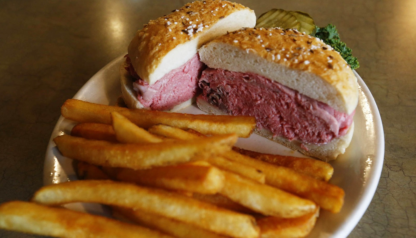 A beef on weck at Mister Dee's in Cheektowaga.  (Mark Mulville/Buffalo News)