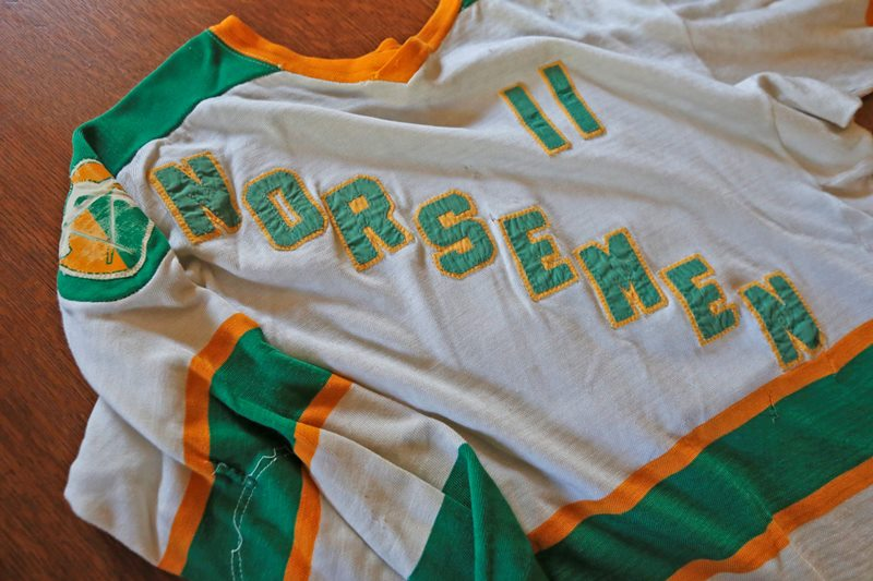 "A jersey from the Buffalo Norsemen, a single-season 1975-76 minor-league team that helped inspire the 1977 movie, ""Slap Shot."" (Robert Kirkham/Buffalo News)"