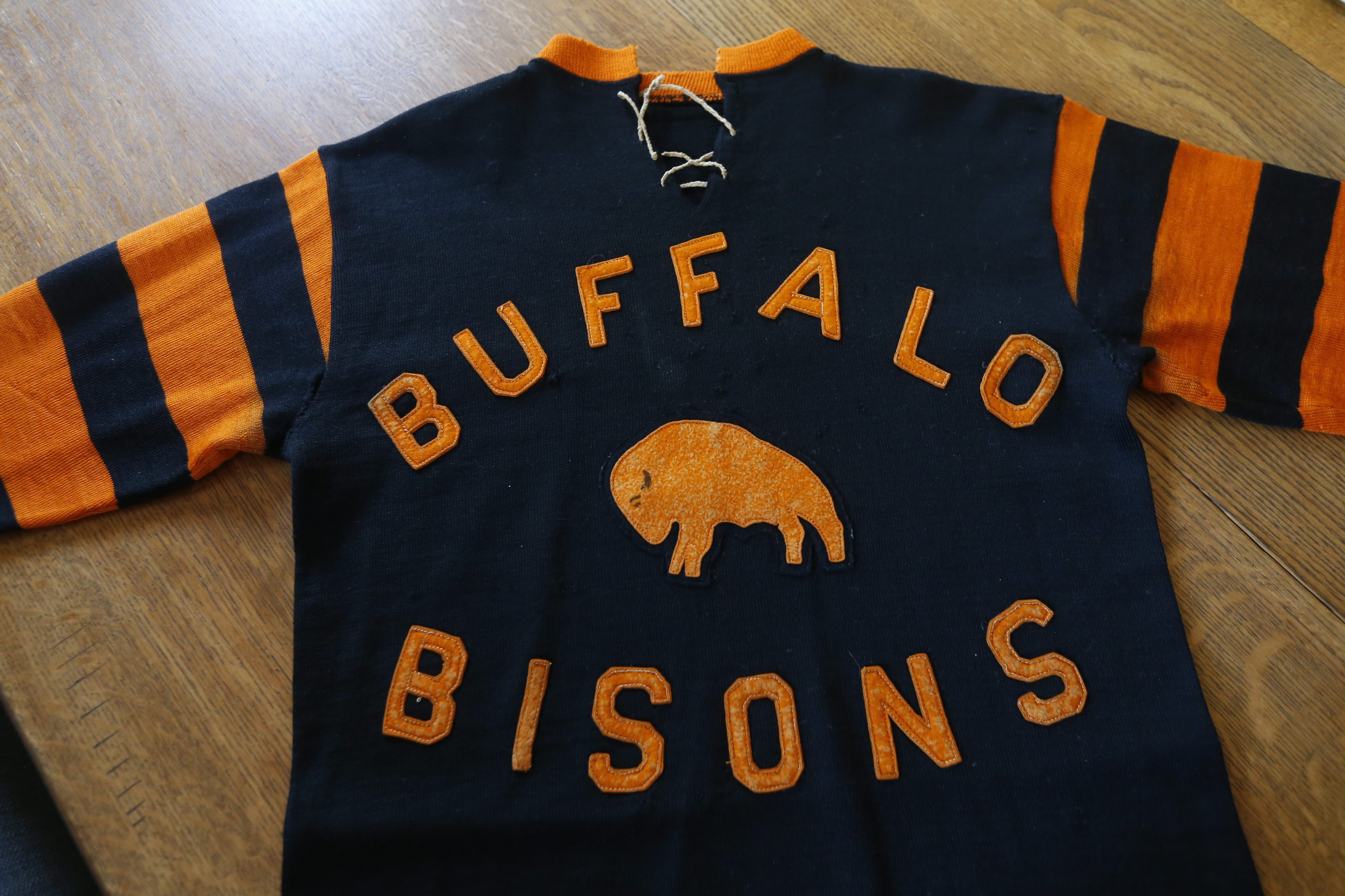 Uniform from the 1931-32 Buffalo (hockey) Bisons, when they played in the old Peace Bridge Arena in Fort Erie. (Robert Kirkham/Buffalo News)