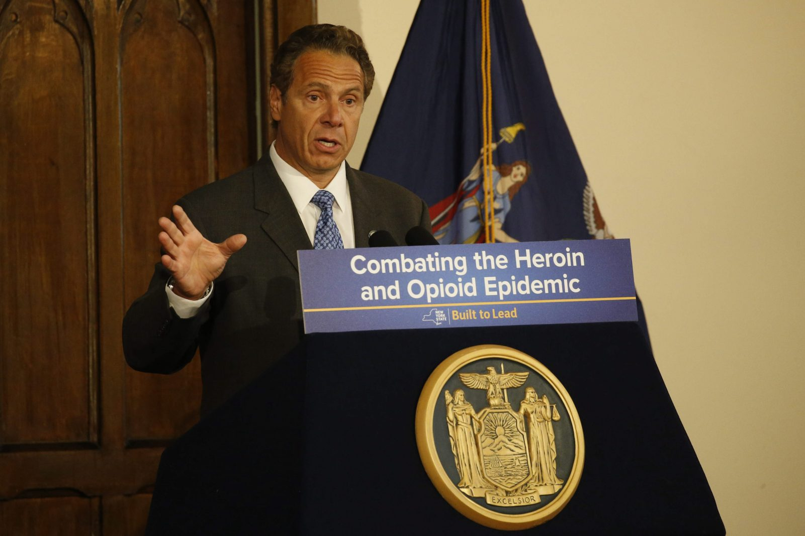 New York Gov. Andrew Cuomo speaks about new legislation to combat the opioid epidemic during a ceremonial bill signing at Evergreen Commons, on June 22, 2016.  (Derek Gee/Buffalo News)