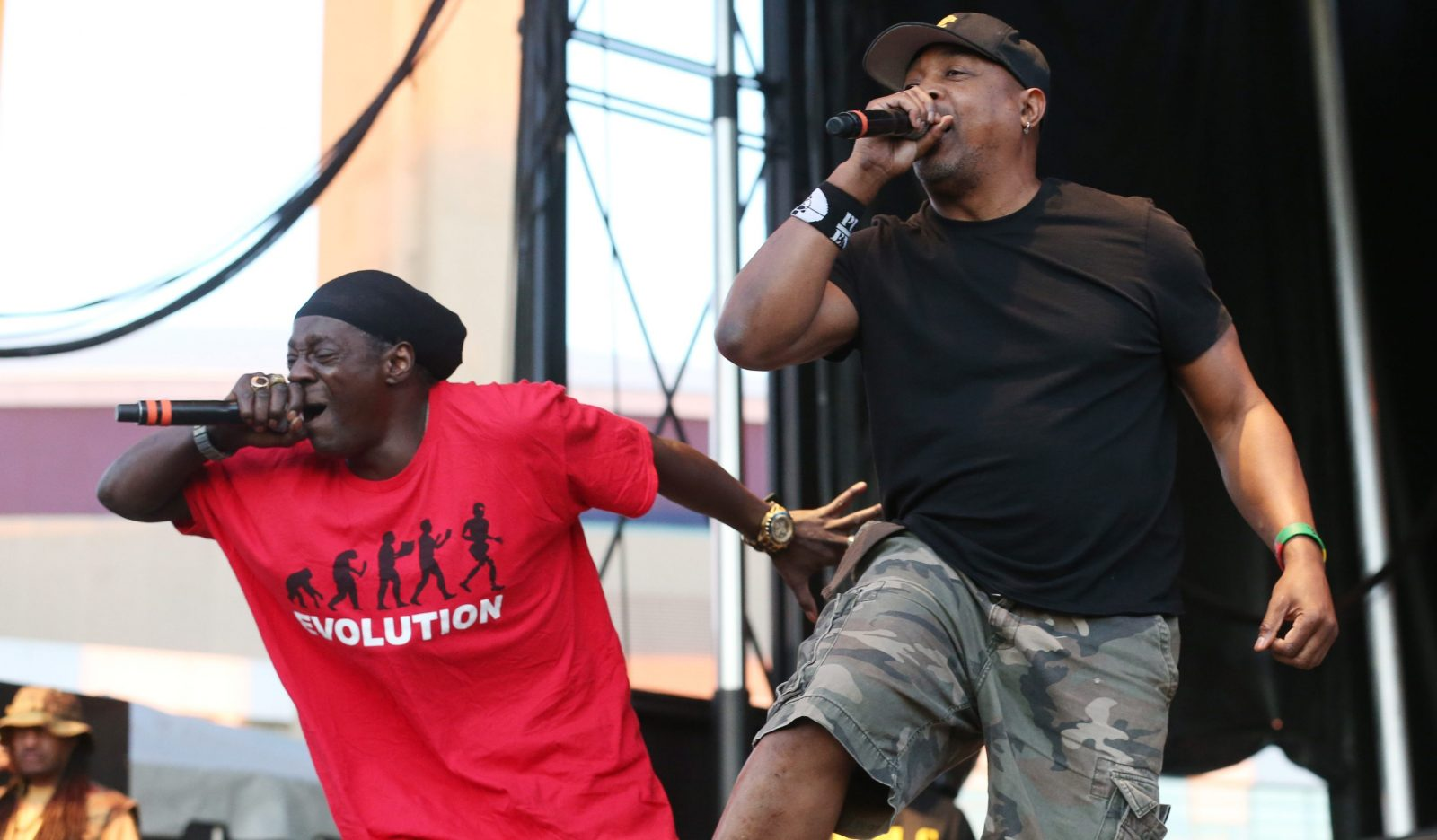 Public Enemy, featuring Flavor Flav, left, and Chuck D, perform at the Thursdays at Canalside Concert Series. (Sharon Cantillon/Buffalo News)