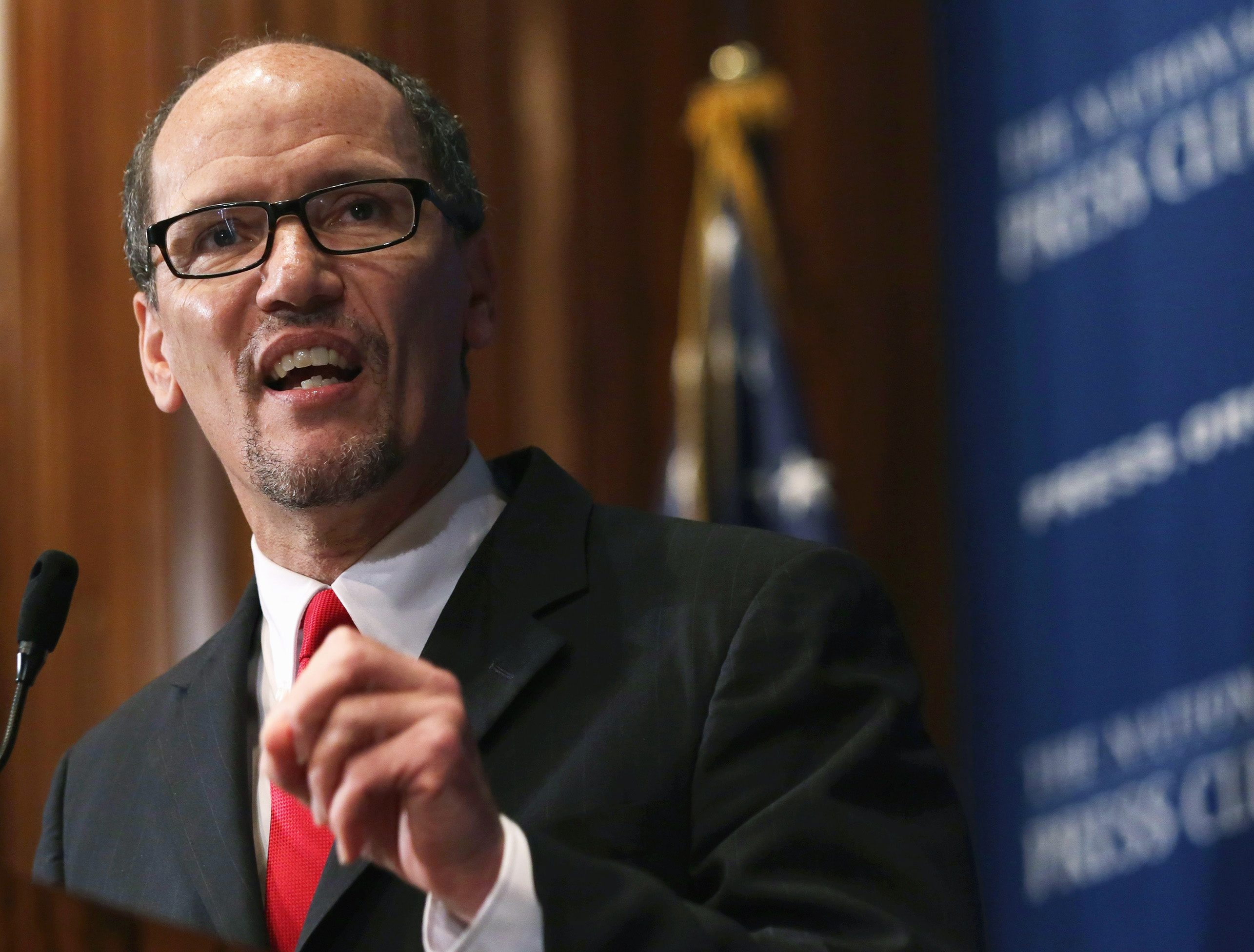 """WASHINGTON, DC - OCTOBER 20:  U.S. Labor Secretary Thomas Perez speaks during a National Press Club  luncheon October 20, 2014 in Washington, DC. Secretary Perez spoke on """"An Economy That Works for Everyone: The Labor Secretary's Perspective.""""  (Photo by Alex Wong/Getty Images)"""