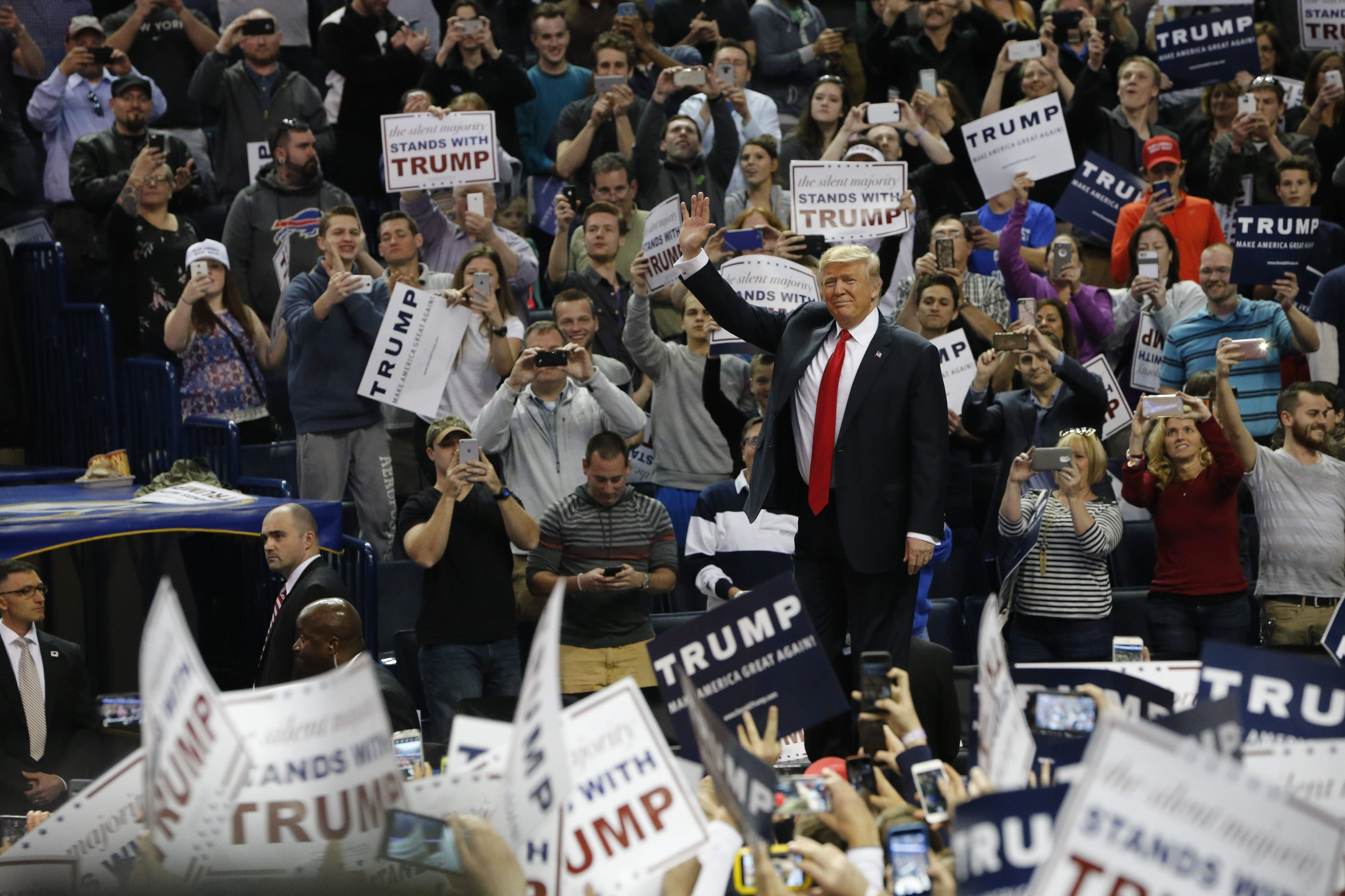 Donald Trump makes his entrance at the First Niagara Center in Buffalo at a rally before the New York primary on April 18, 2016.  (Derek Gee/Buffalo News)