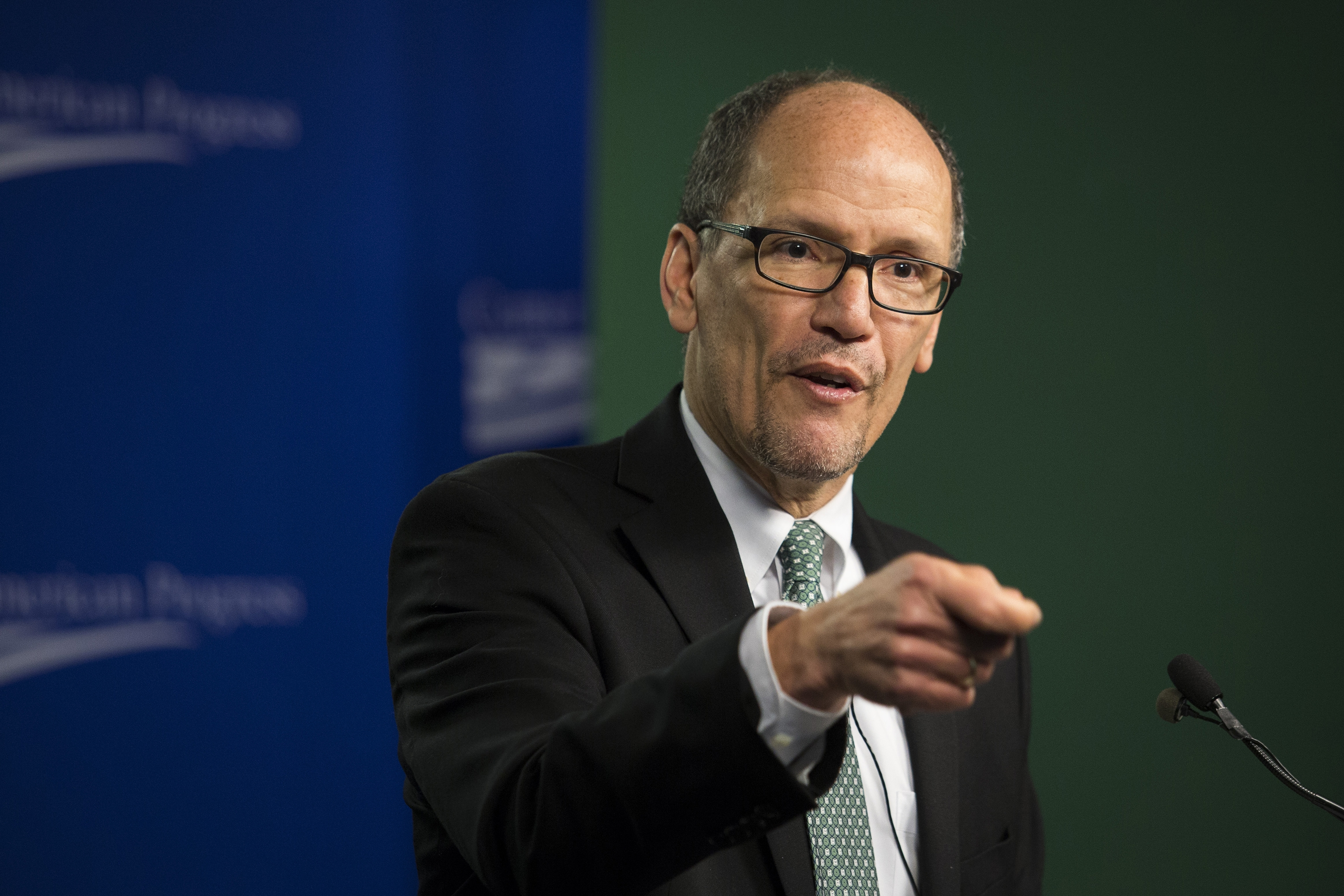Thomas Perez, a possible running mate for Clinton, gives speech at National Press Club.