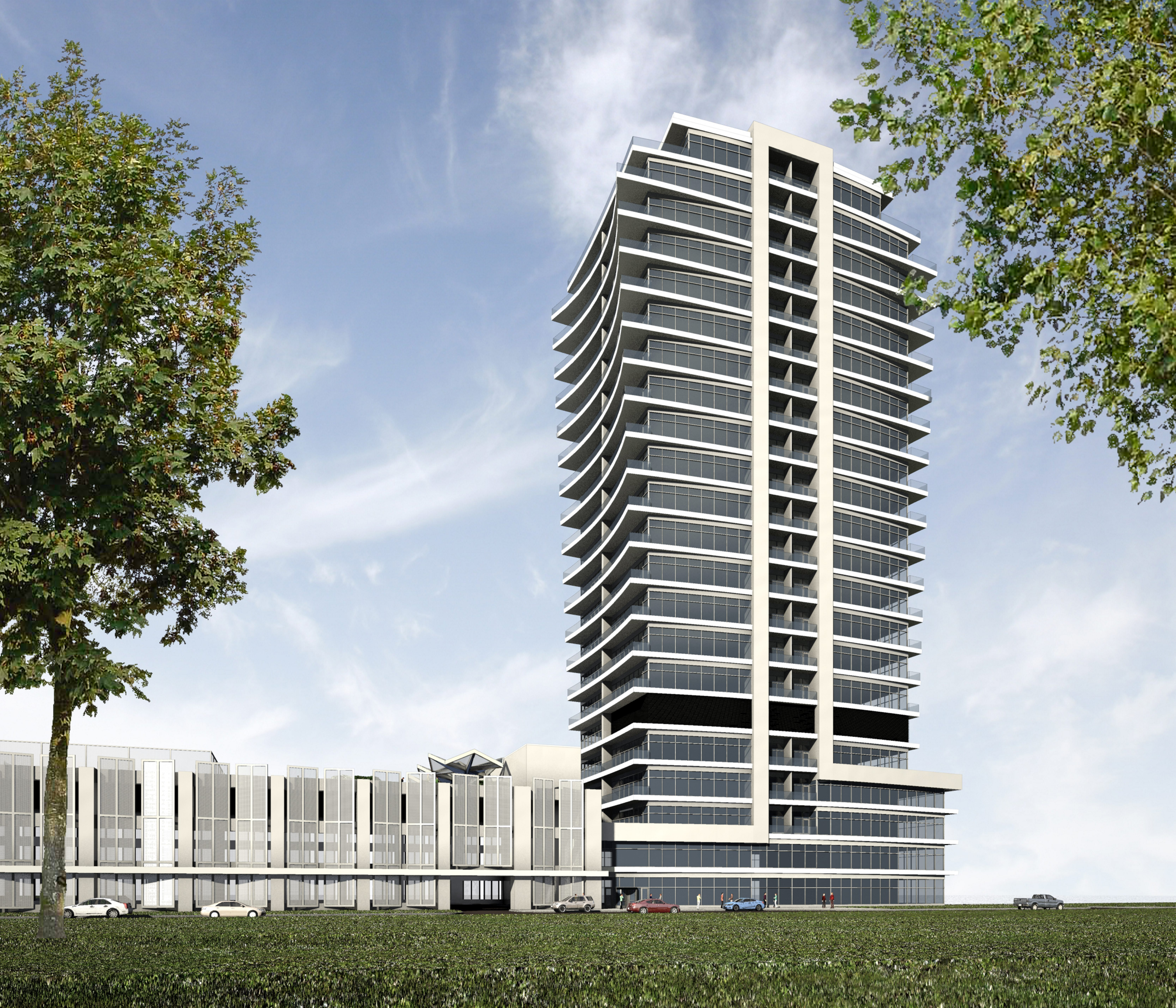 A rendering of the 23-story Queen City Landing apartment tower to be built at the Freezer Queen site on the Outer Harbor.