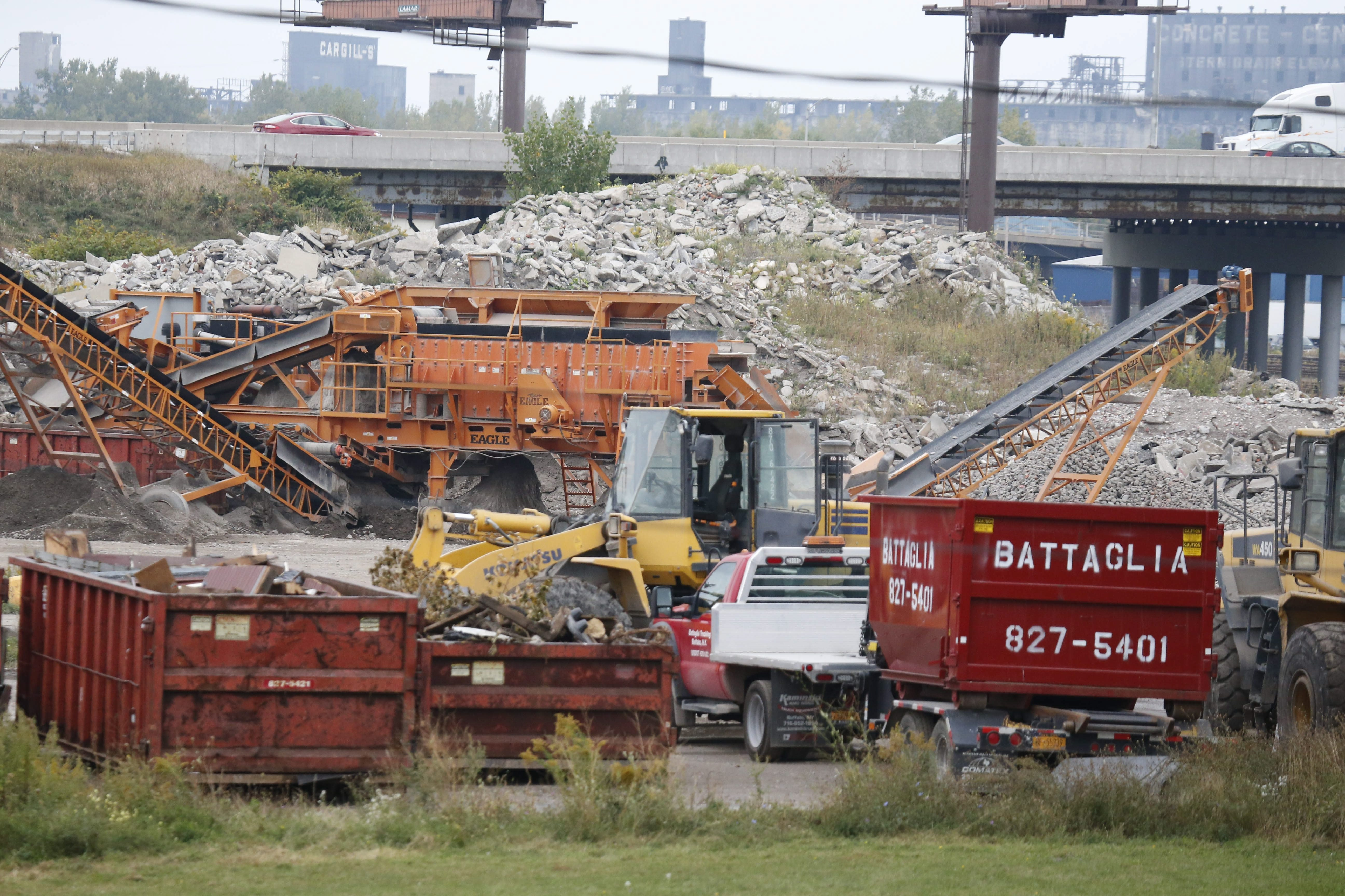 Battaglia Demolition, a waste-recycling business in the Seneca-Babcock neighborhood, is facing a lawsuit from the state attorney general.  (Derek Gee/Buffalo News file photo)
