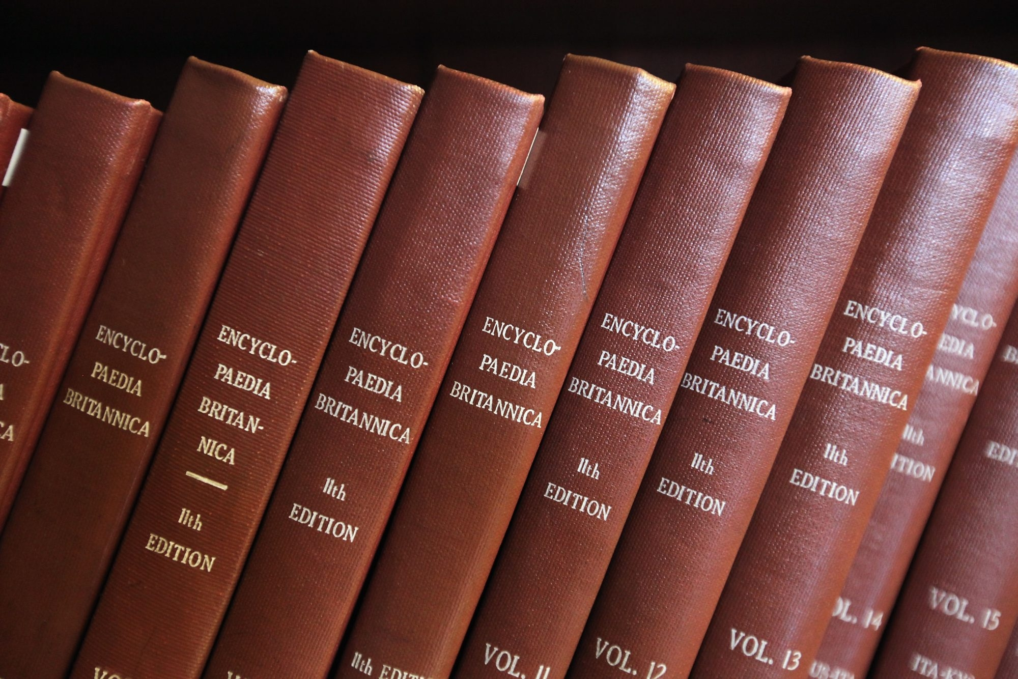 Encyclopedia Britannica editions are seen at the New York Public Library. In his new book, Denis Broyles traces the evolution of the encyclopedia from its early days as an offshoot of the Times of London in the early 20th century.