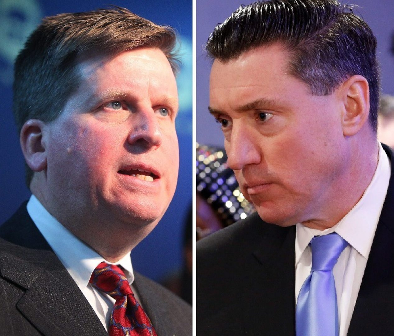 A web domain name flynnforda.com leads to the campaign website of Acting District Attorney acting District Attorney Michael J. Flaherty Jr., left, rather than the site for candidate John J. Flynn Jr., right. (News file photos)