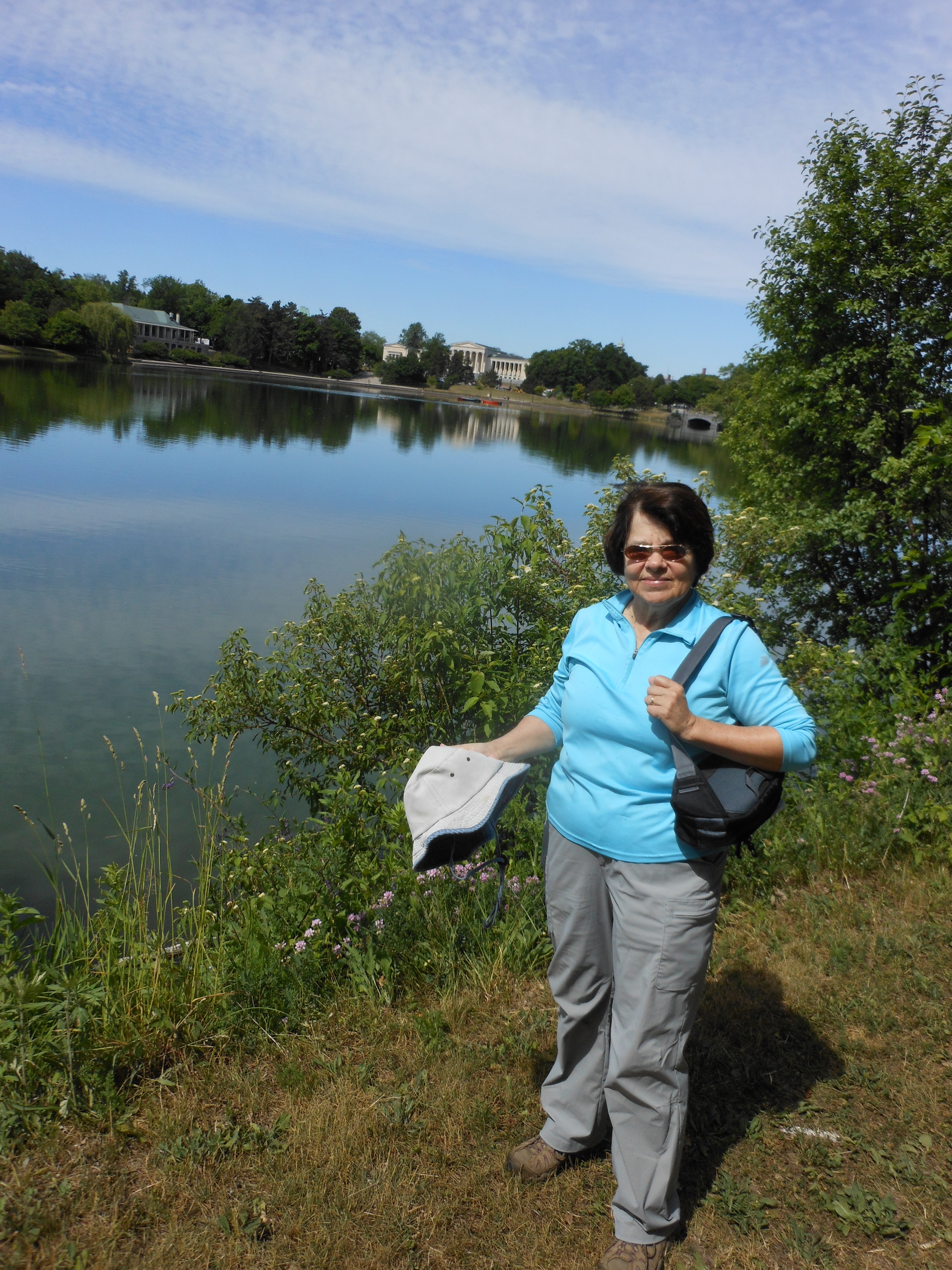 Donna Flood, Foothills Trail Club president, took in the sights and shared hiking lore and layouts during a sauntering session around Delaware Park Lake.