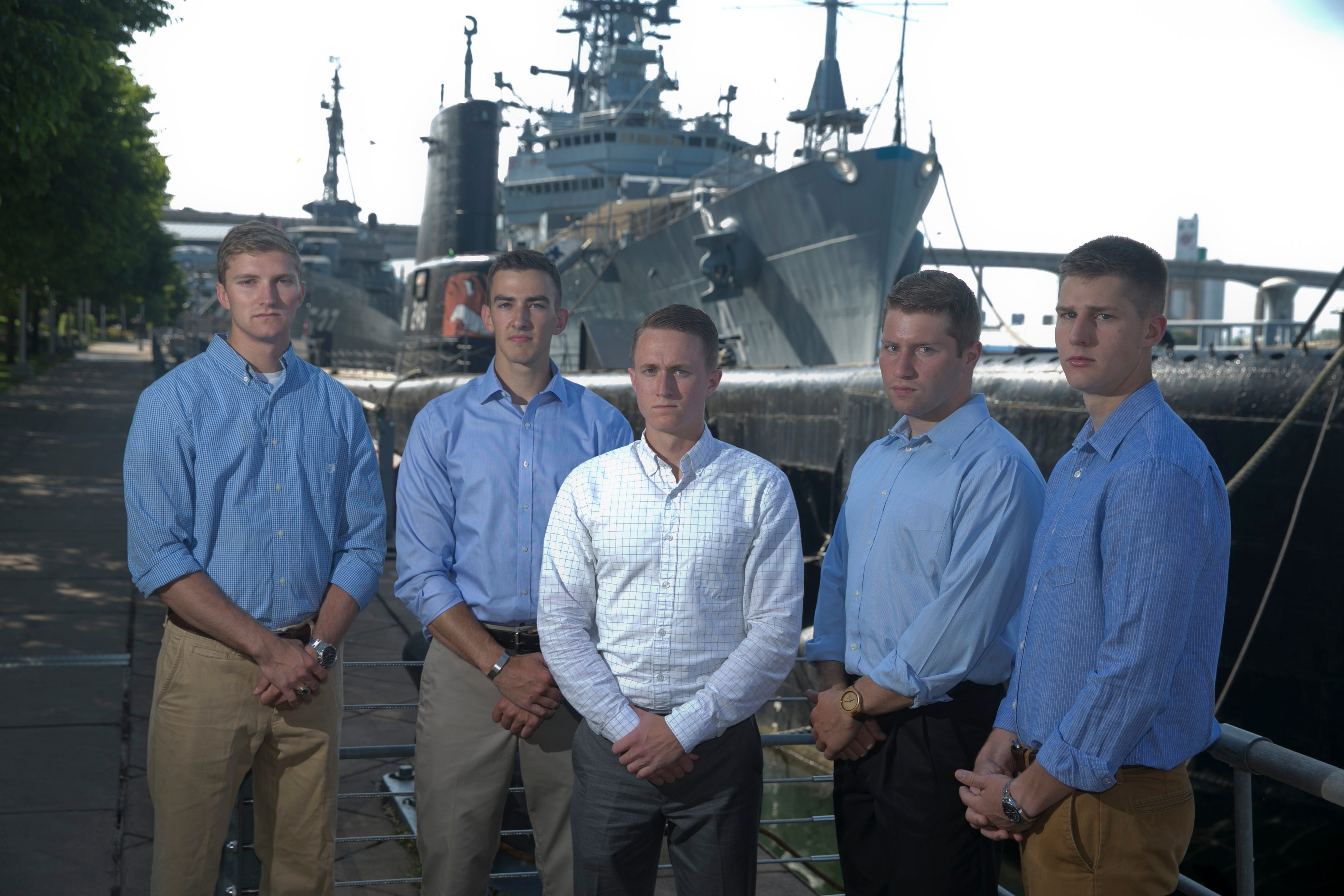 Left to right, Kirk Kostrzewski, Dan Ecker, Gabe Knoll, Michael Hamp and Andrew Karas visit the Buffalo and Erie County Naval & Military Park on Thursday. All five graduated from the U.S. Naval Academy in Annapolis, Md., last month.