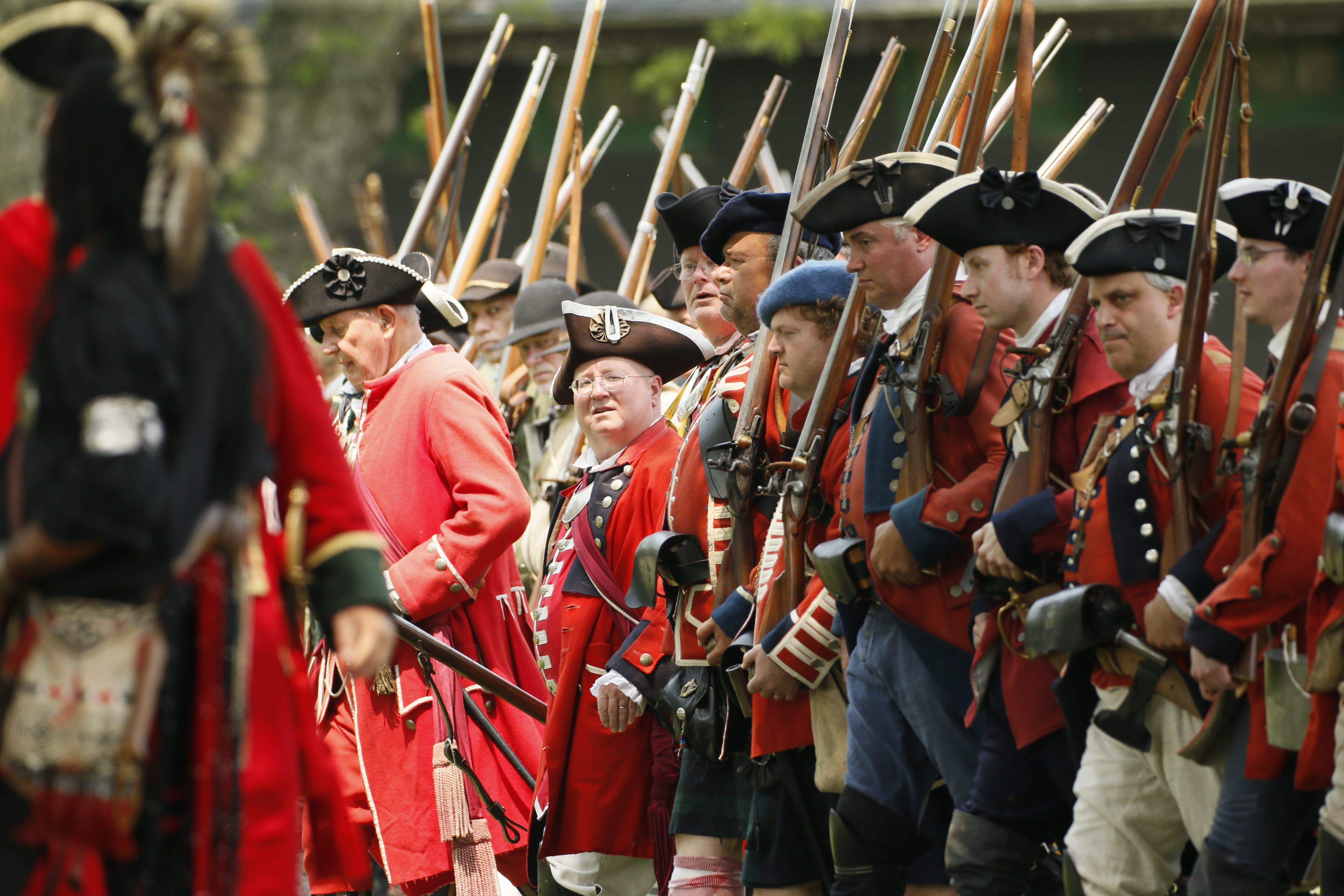 Re-enactors portray the British attack on the French at Old Fort Niagara during the French and Indian War Encampment last year.