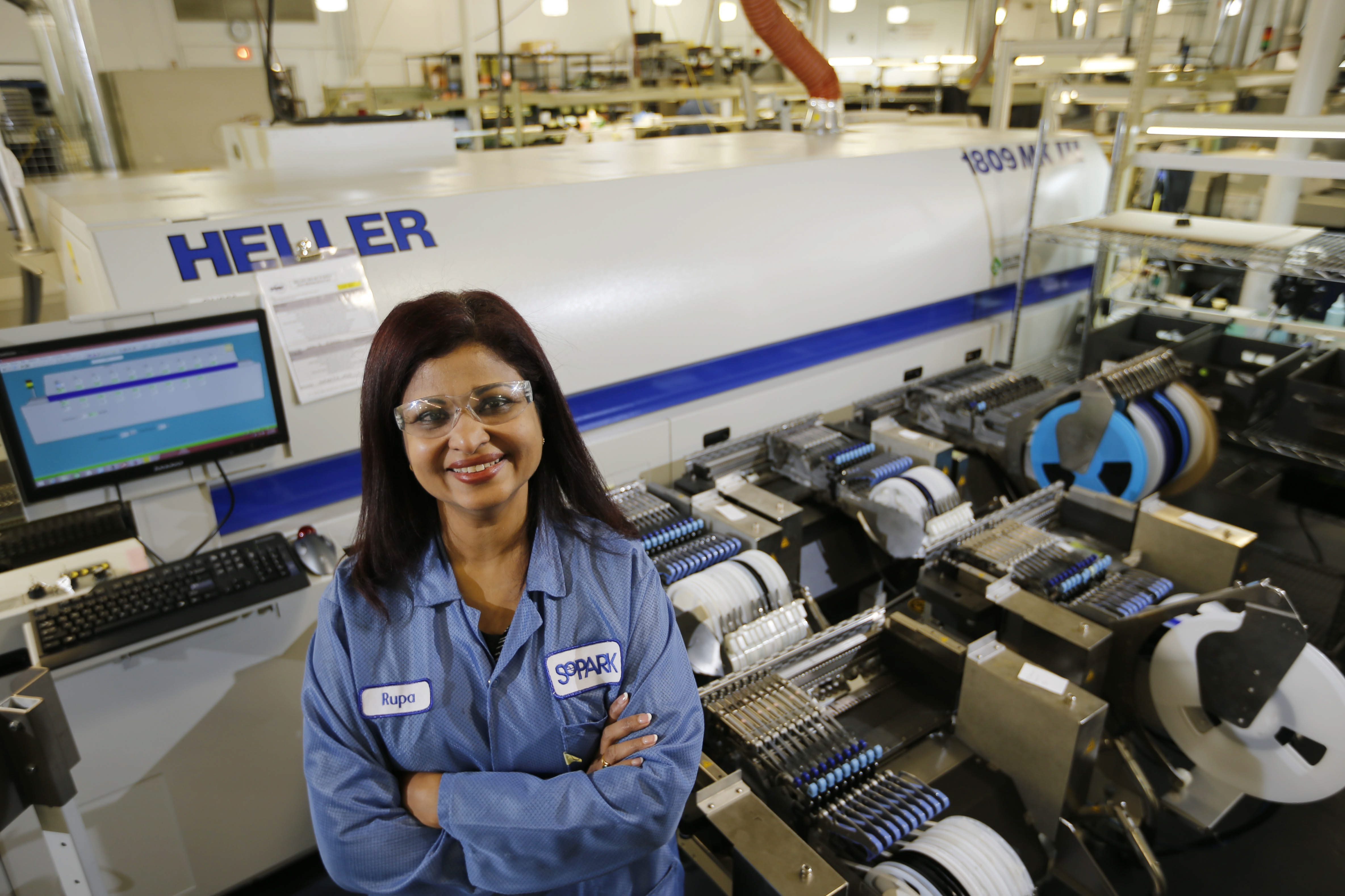 Rupa Shanmugam, president and COO of SoPark Corp. in Lackawanna, is committed to women's issues and encouraging young women to follow in her footsteps. She has arranged for girls from area high schools to tour the contract manufacturing facility.