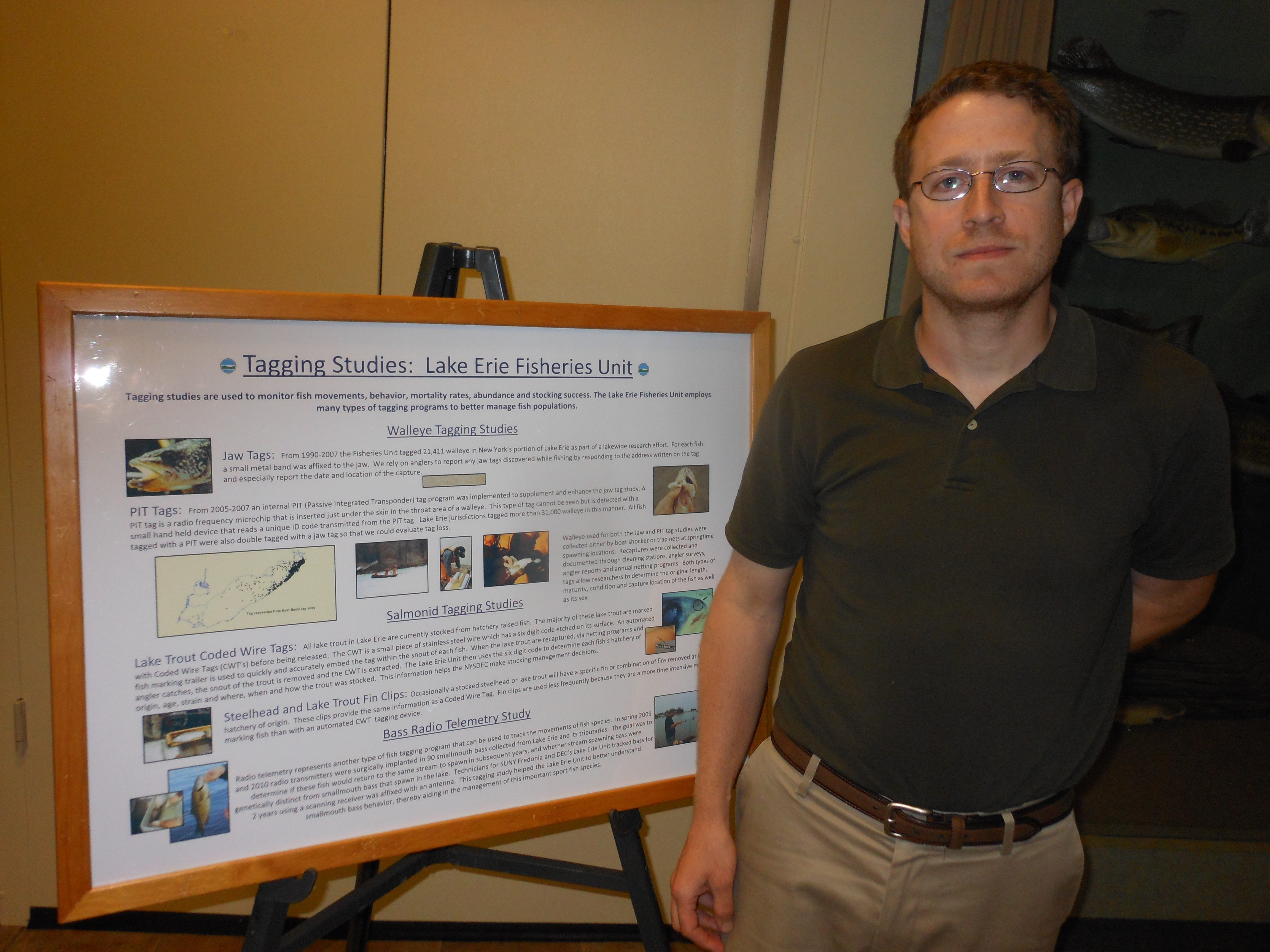 DEC senior aquatic biologist Jason Robinson explained the tracking of walleye movements in Lake Erie waters during an Angler Outreach program at Woodlawn Beach State Park on Tuesday evening.
