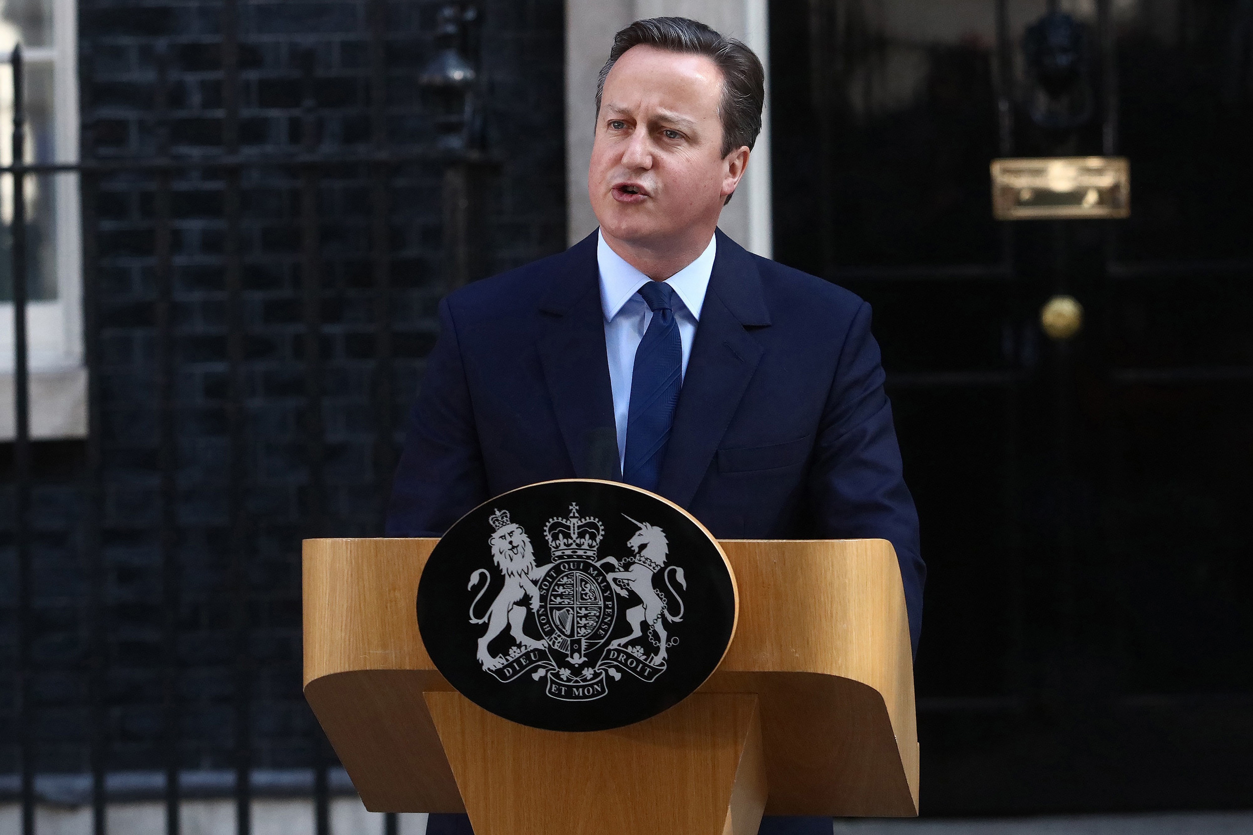 David Cameron, U.K. prime minister and leader of the Conservative Party, makes his resignation speech in Downing Street following the European Union referendum membership vote results in London on Friday. (Bloomberg photo)