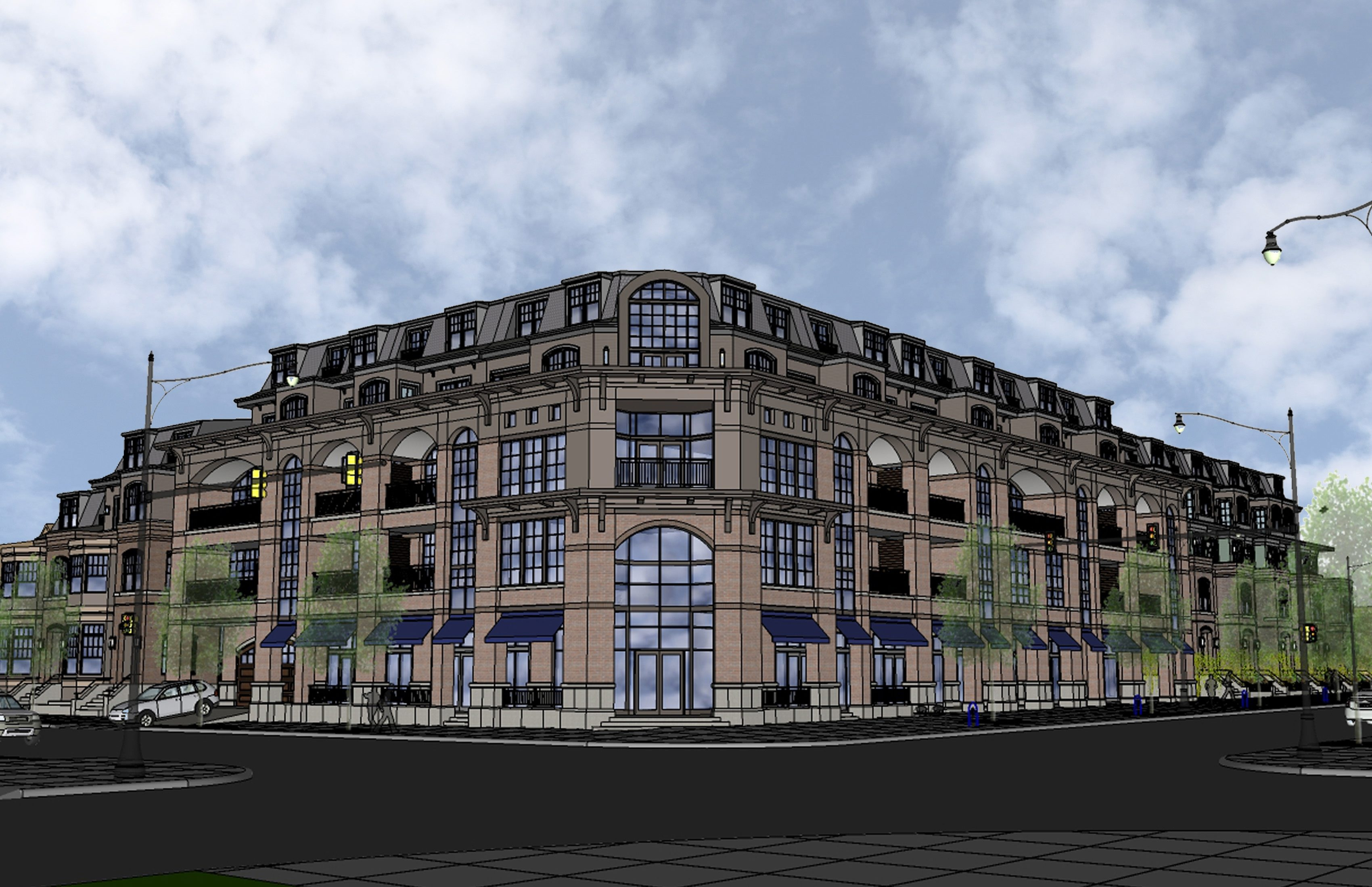 An architectural rendering of the five-story Elmwood condominiums proposed for Elmwood and Forest.