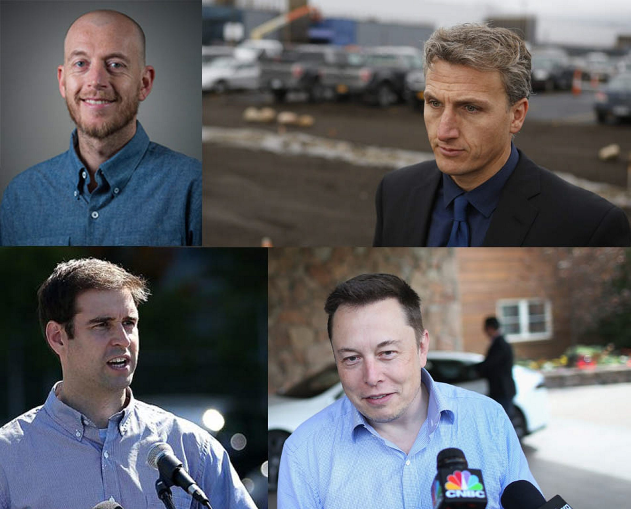 Clockwise, from top left: Peter Rive, chief technology officer for SolarCity; Lyndon Rive (Derek Gee/Buffalo News); Elon Musk, chairman of Tesla Motors (Getty Images); and JB Straubel, Tesla Motors chief technical officer (Getty Images).