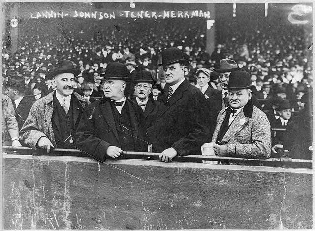 Joseph J. Lannin, Byron Bancroft Johnson, John Kinley Tener, August (Garry) Herrmann - baseball magnates at Boston game. Oct. 9, 1916. (Library of Congress)