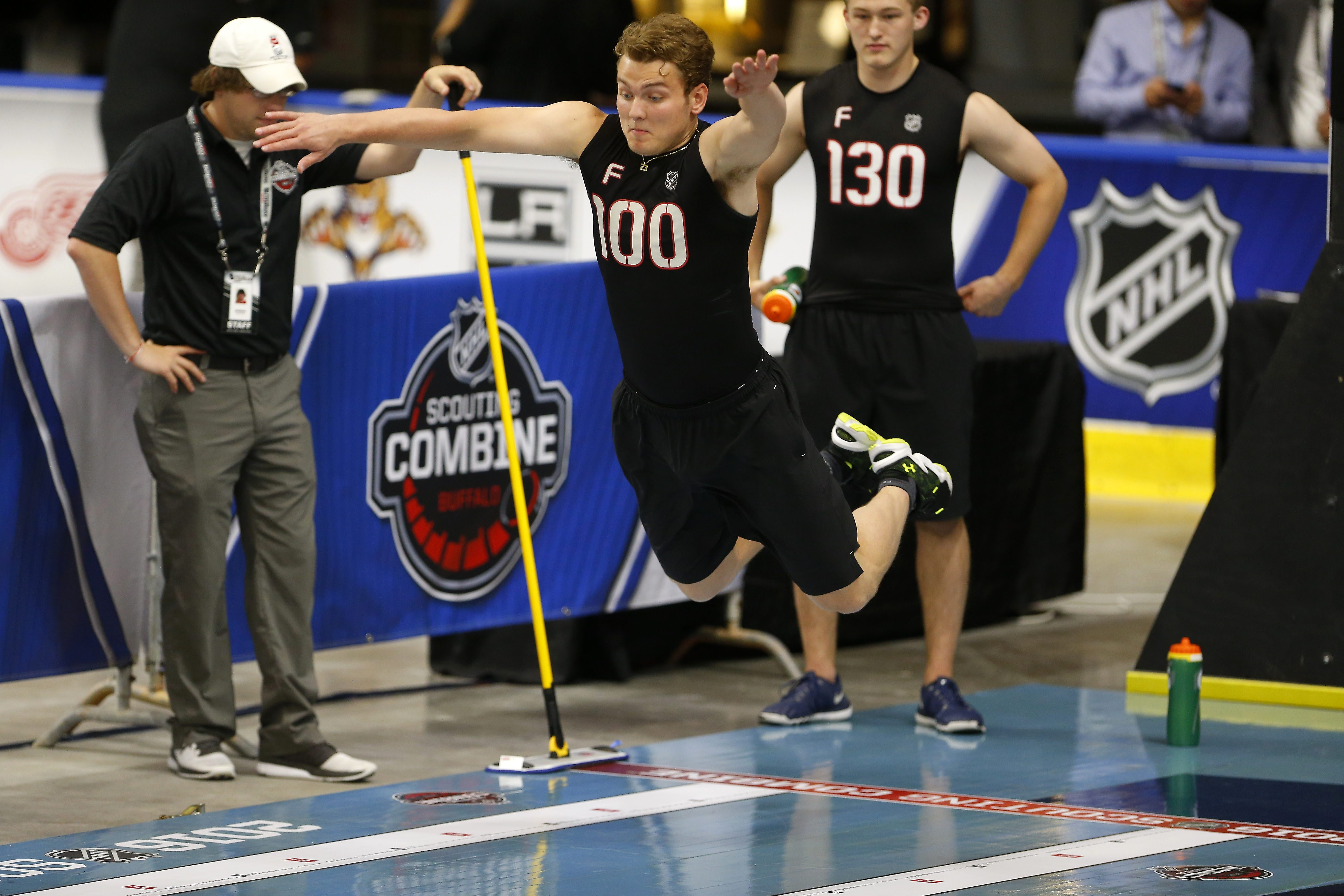 Kieffer Bellows does the long jump station during the NHL Scouting Combine at Harbor Center in Buffalo Saturday, June 4, 2016.    (Mark Mulville/Buffalo News)