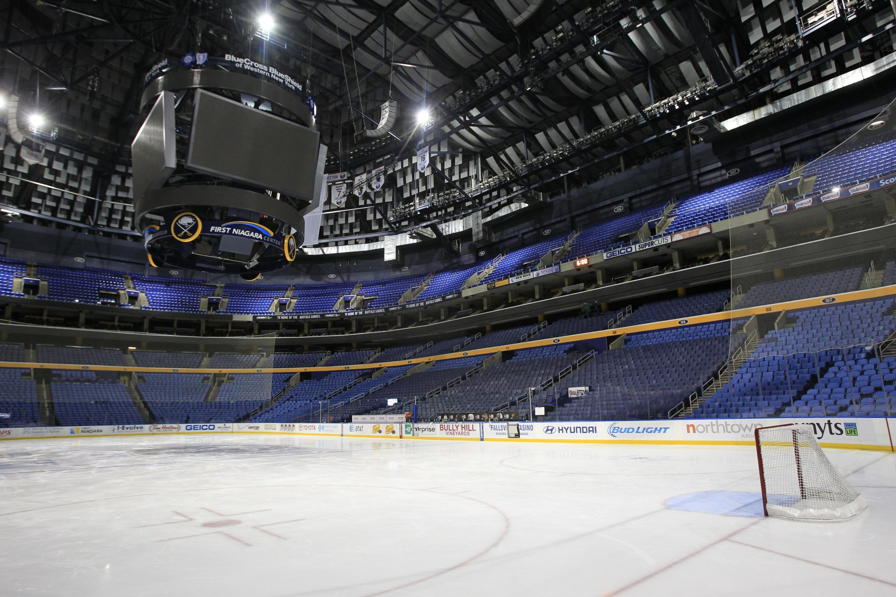 A empty First Niagara Center after the NHL  postponed the Buffalo Sabres game against the Carolina Hurricanes due to the hazardous weather conditions ,on,Tuesday, Jan. 7, 2014.(Harry Scull Jr./Buffalo News)