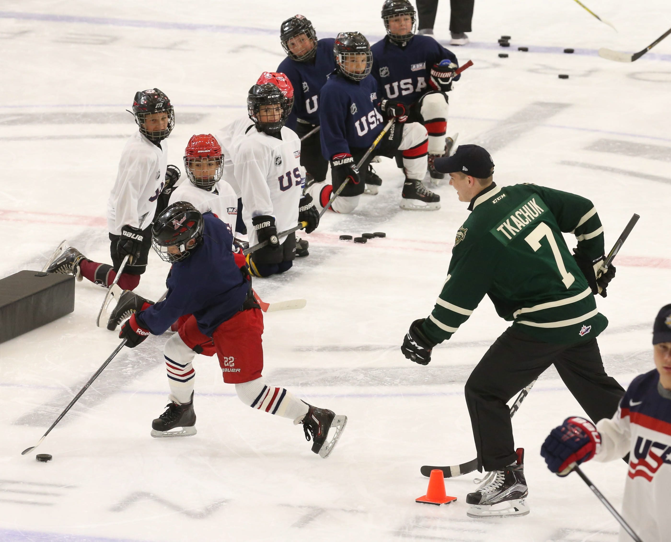 Matthew Tkachuk was among the NHL's top draft prospects who participated in a hockey clinic at HarborCenter Thursday.
