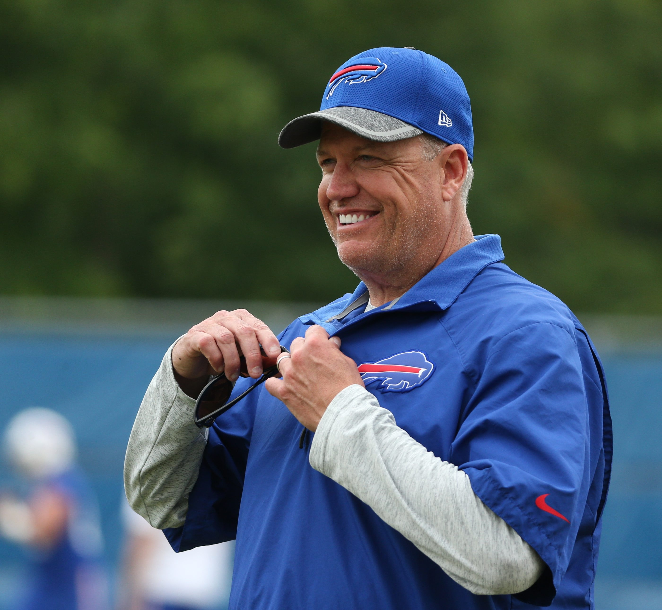Buffalo Bills head coach Rex Ryan enjoys what he sees  during the third and final day of the Buffalo Bills mandatory minicamp at ADPRO Sports Training Center in Buffalo,NY on Thursday, June 16, 2016.  (James P. McCoy/ Buffalo News)
