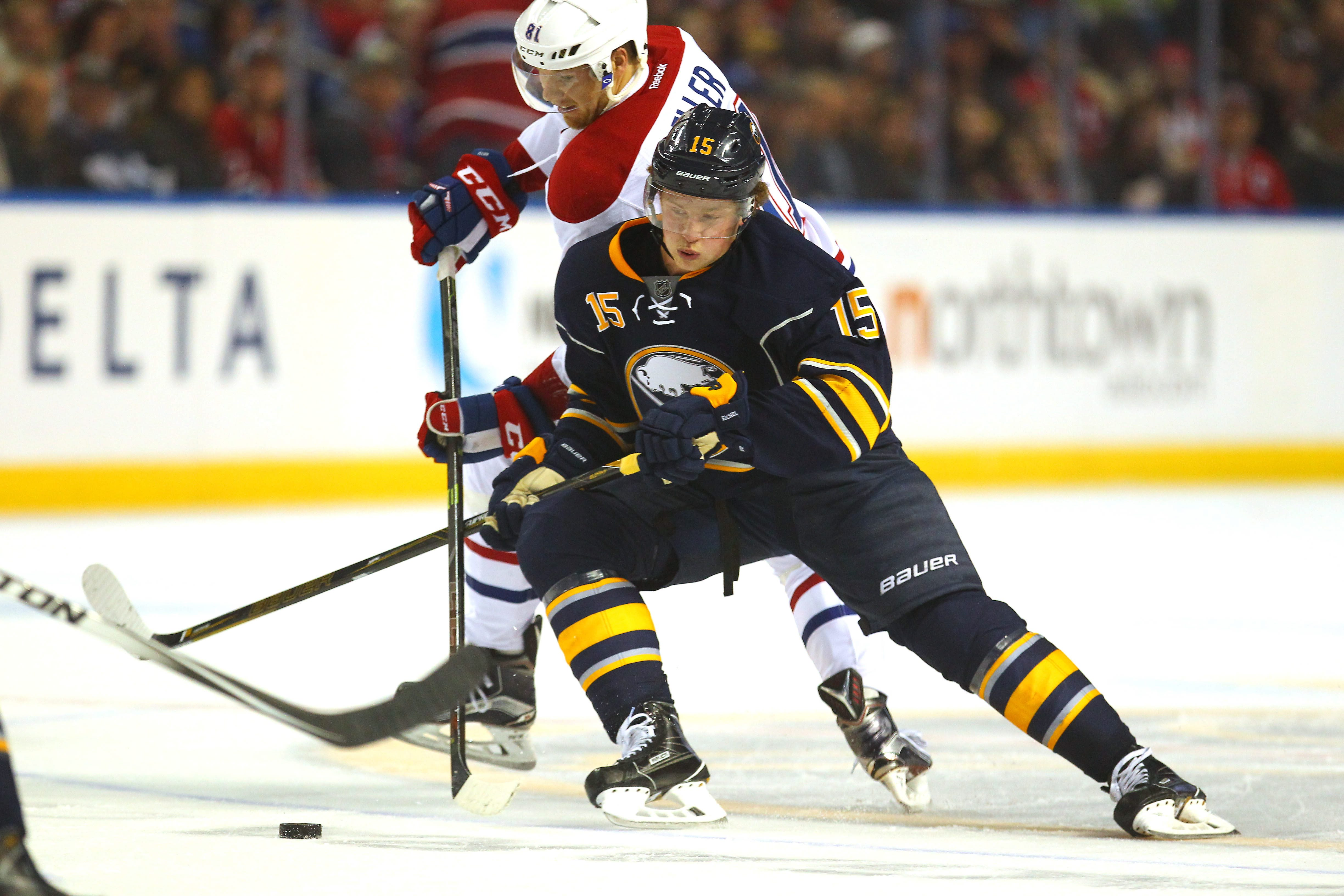 Jack Eichel and the Buffalo Sabres will open the season at home against the Montreal Canadiens on at Thursday (Oct 13), one of many Thursday home dates. (Mark Mulville/Buffalo News)