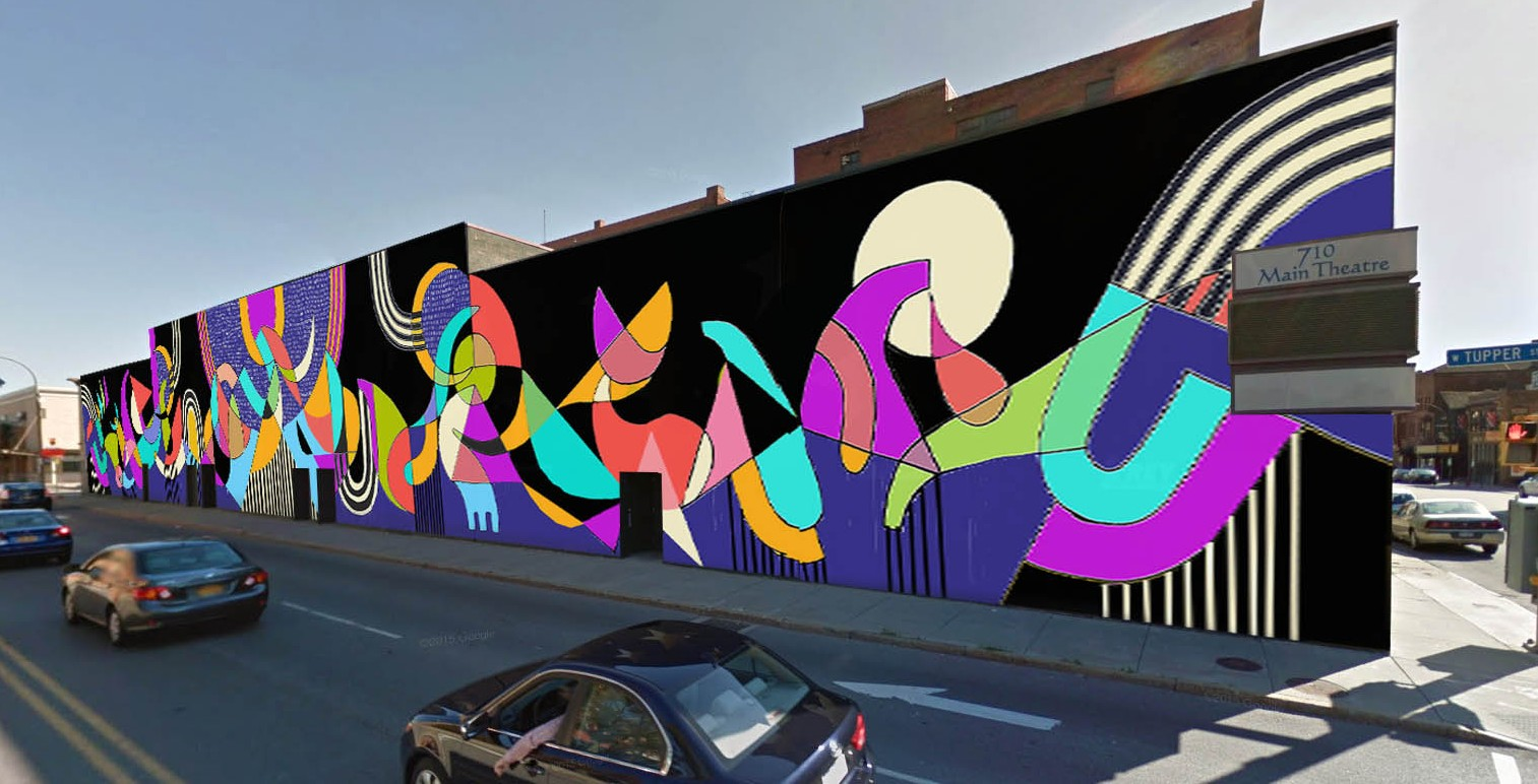 A new mural by Jessie Unterhalter and Katey Truhn, shown here in a photo illustration by Vince Chiaramonte, is well on its way to completion on the side of the 710 Main Theatre.