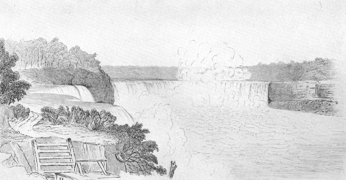 American fall in 1827 from American shore Prospect Point