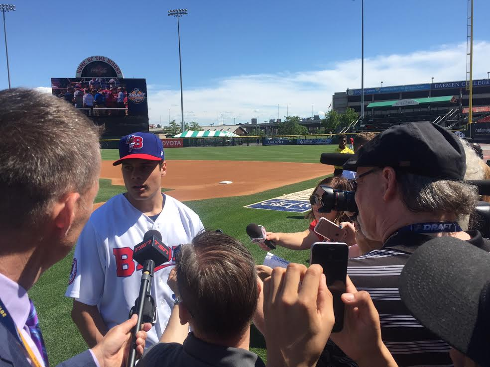 Auston Matthews meets the media Wednesday in Coca-Cola Field (Mike Harrington/Buffalo News).