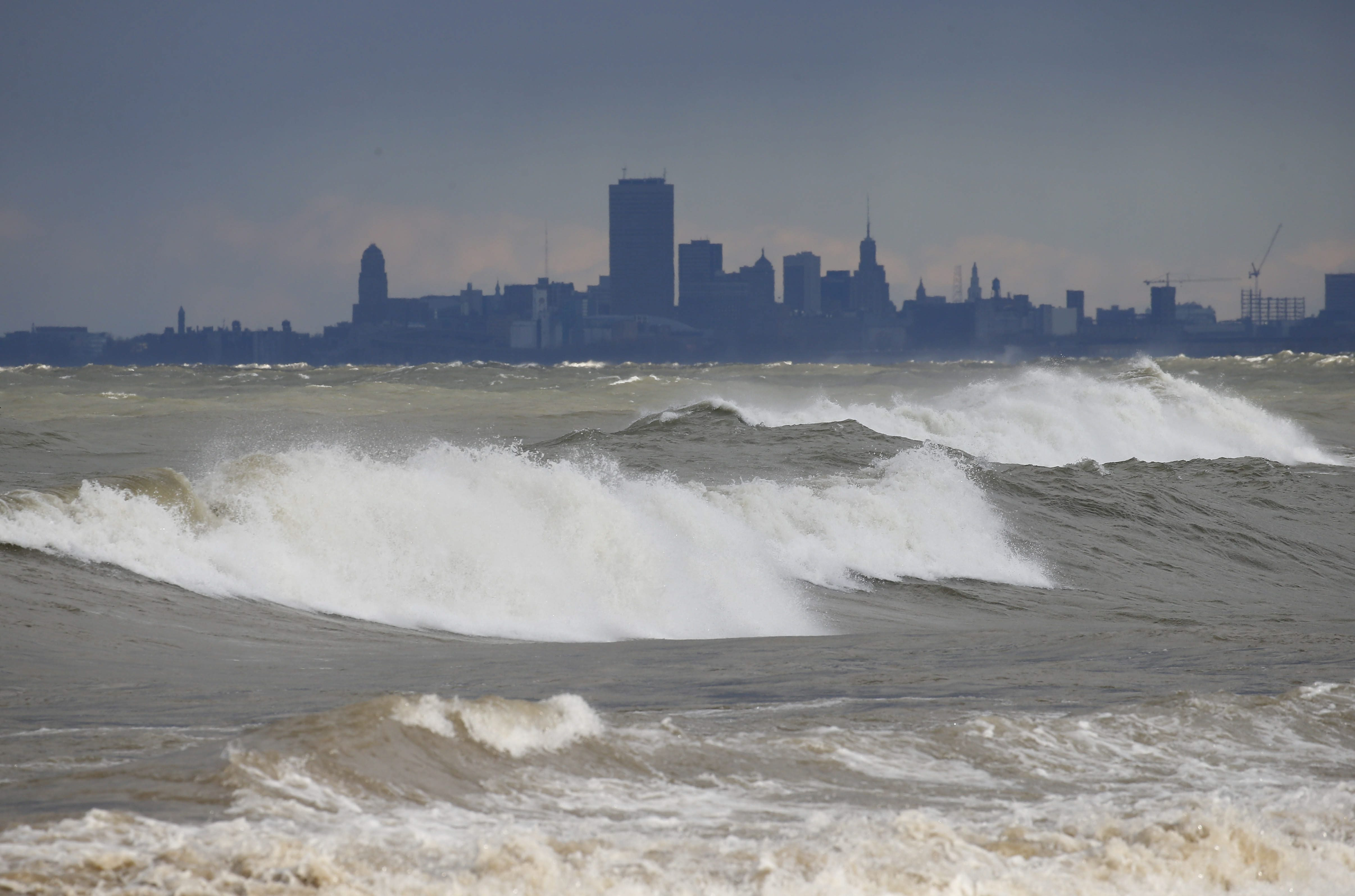 Blowing wind drives waves onto the shores in Hamburg. (Mark Mulville/News file photo)