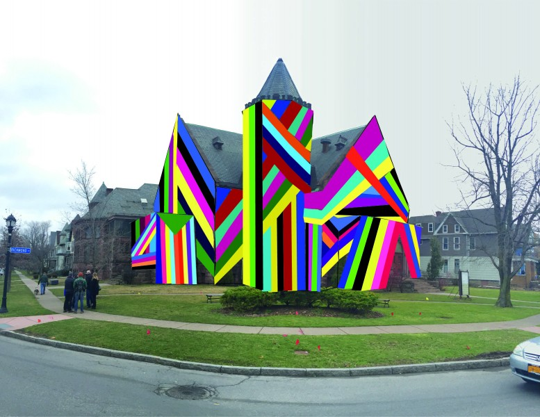 """Amanda Browder's """"Spectral Locus,"""" a public art project involving huge sheets of colored fabric, will temporarily transform the former church at Richmond Avenue and West Ferry later this summer."""