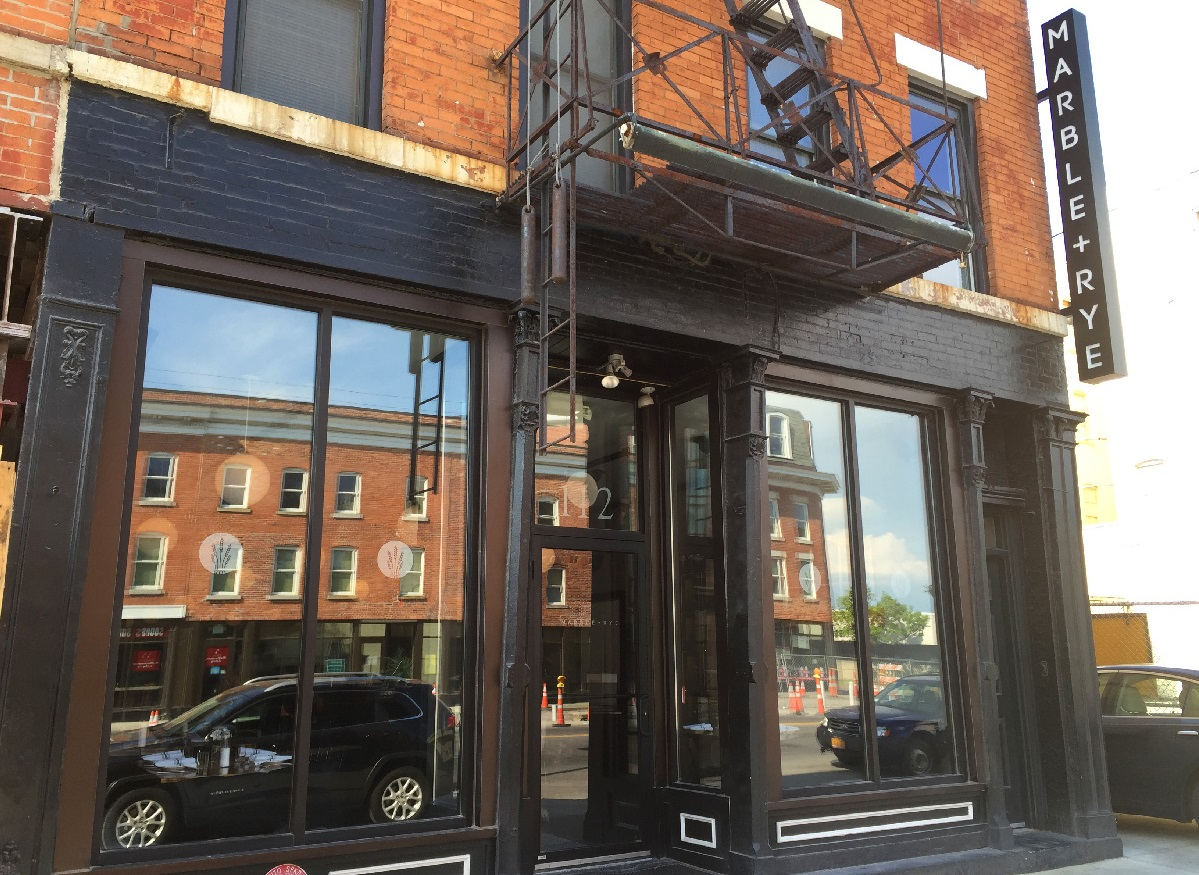 The outside of Marble + Rye in downtown Buffalo. (Christa Glennie Seychew/Special to The News)