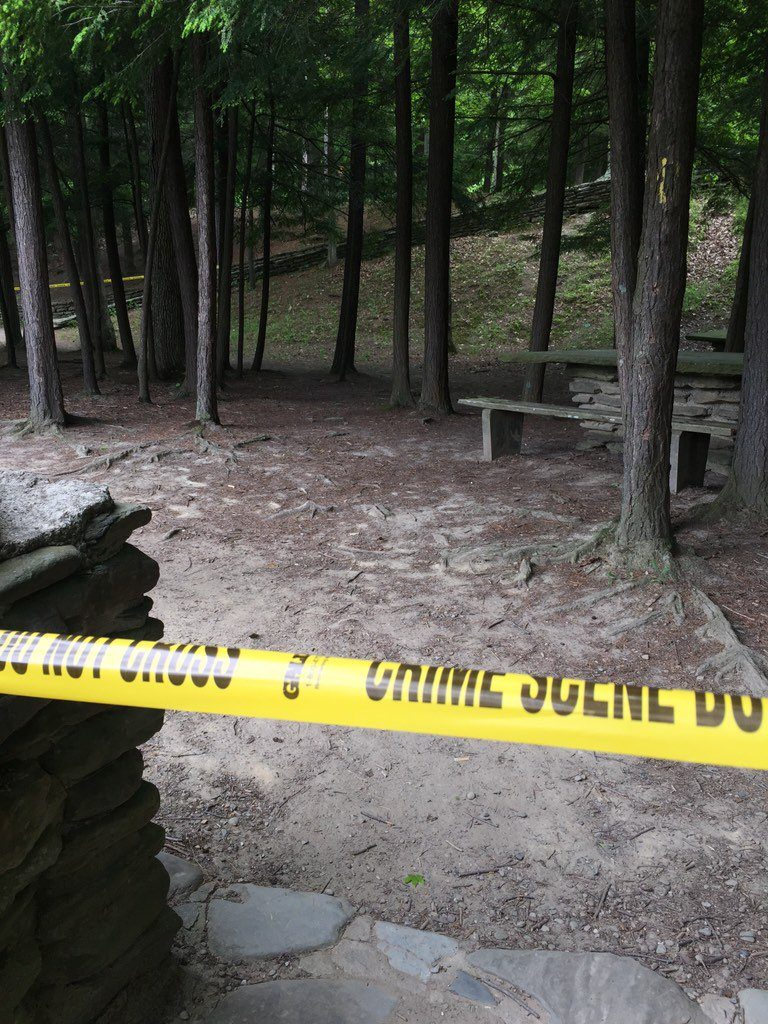 Police tape blocks a trail leading to lower falls of Letchworth State Park, where two boys went missing Saturday. (Jack Howland/Buffalo News)