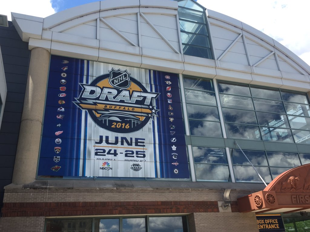 The signage is up at First Niagara Center for the NHL Draft. (Mike Harrington/Buffalo News)