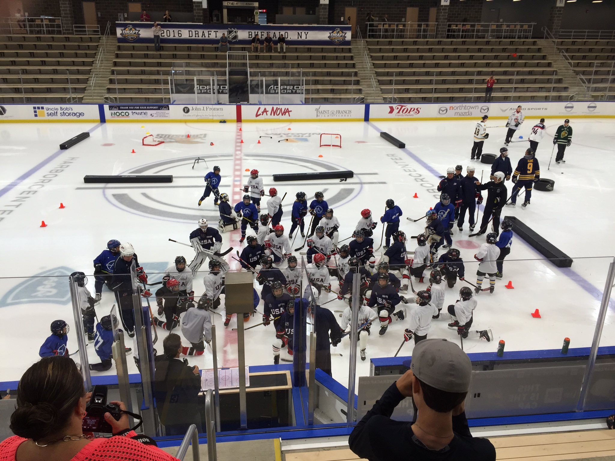 Top NHL prospects and young hockey players on the HarborCenter ice Thursday morning. (James P. McCoy/Buffalo News)