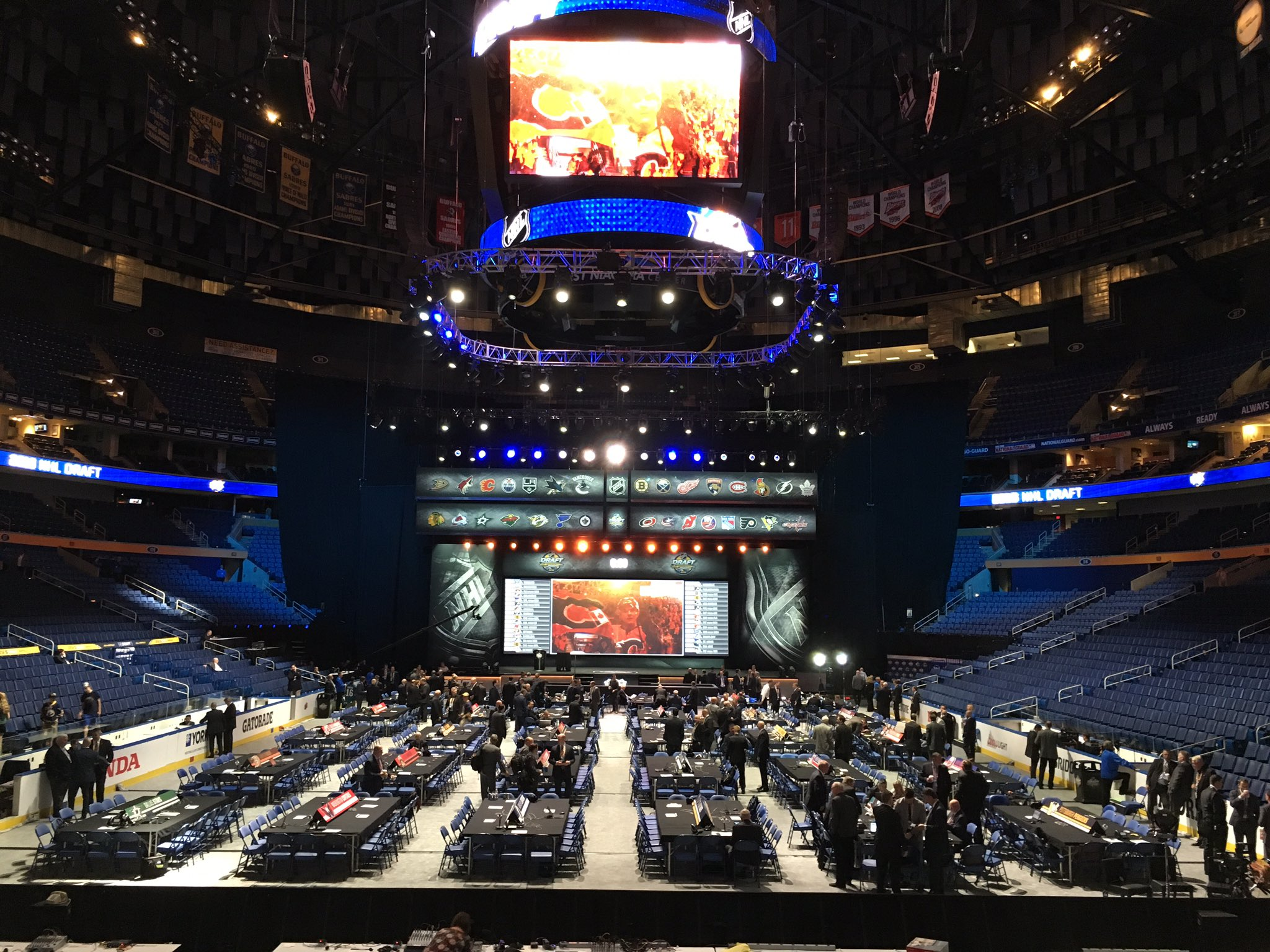 The Sabres got started soon after First Niagara Center started filling up this morning. (Harry Scull Jr./Buffalo News)