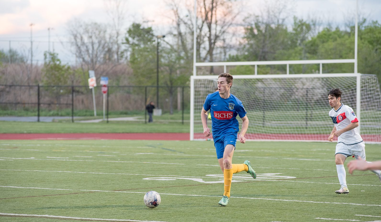 Ian McGrath scans the pitch for a pass during FC Buffalo's home opener against Rochester. (Matt Weinberg/Special To The News)