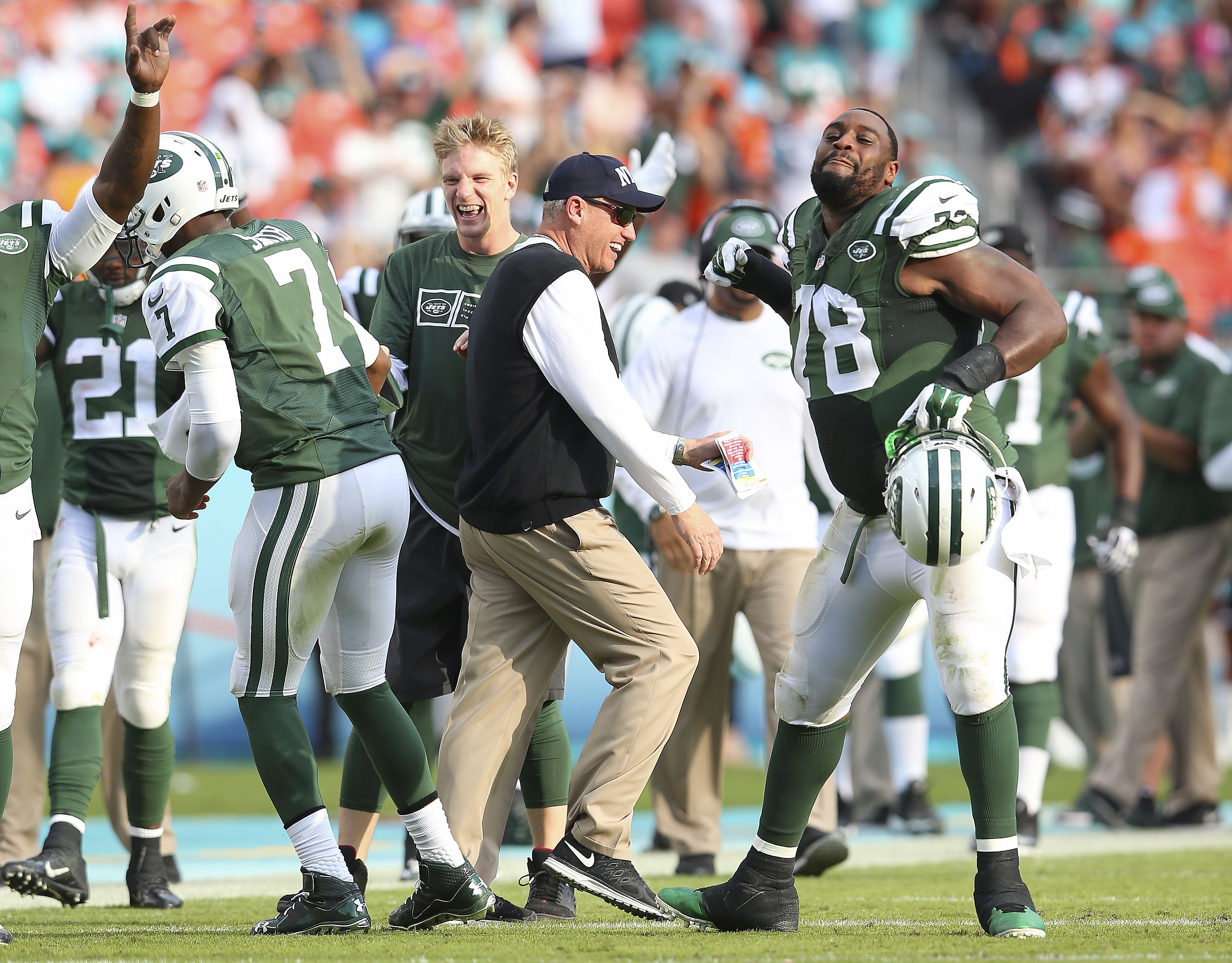 Leger Douzable (78) is happy to be reunited with coach Rex Ryan here in Buffalo after the two were together with the New York Jets. (Getty Images)