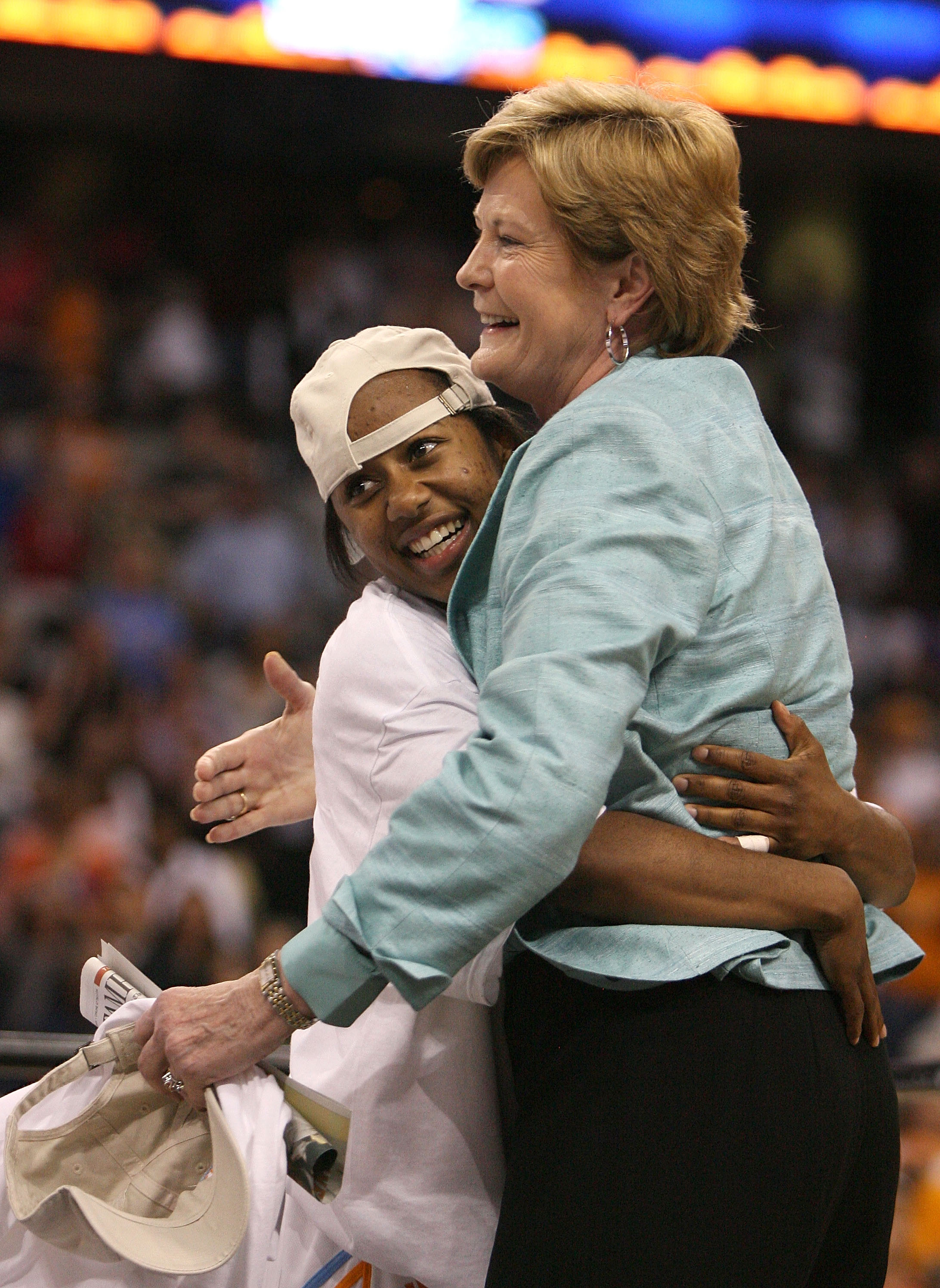 Shannon Bobbitt gives a celebratory hug to head coach Pat Summitt after Tennessee defeated Stanford in the 2008 national championship game.